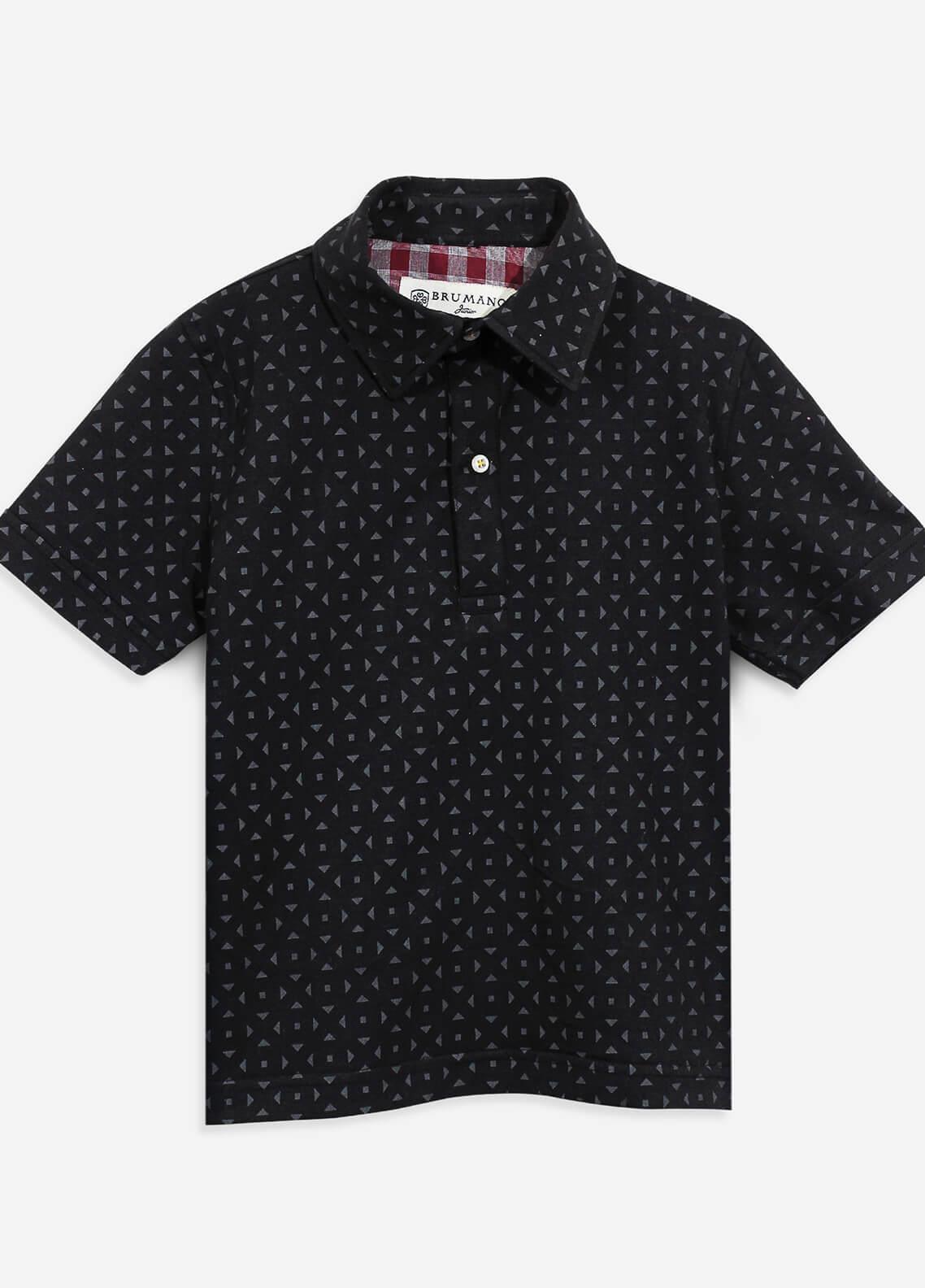Brumano Cotton Polo Shirts for Boys - Black BRM-081