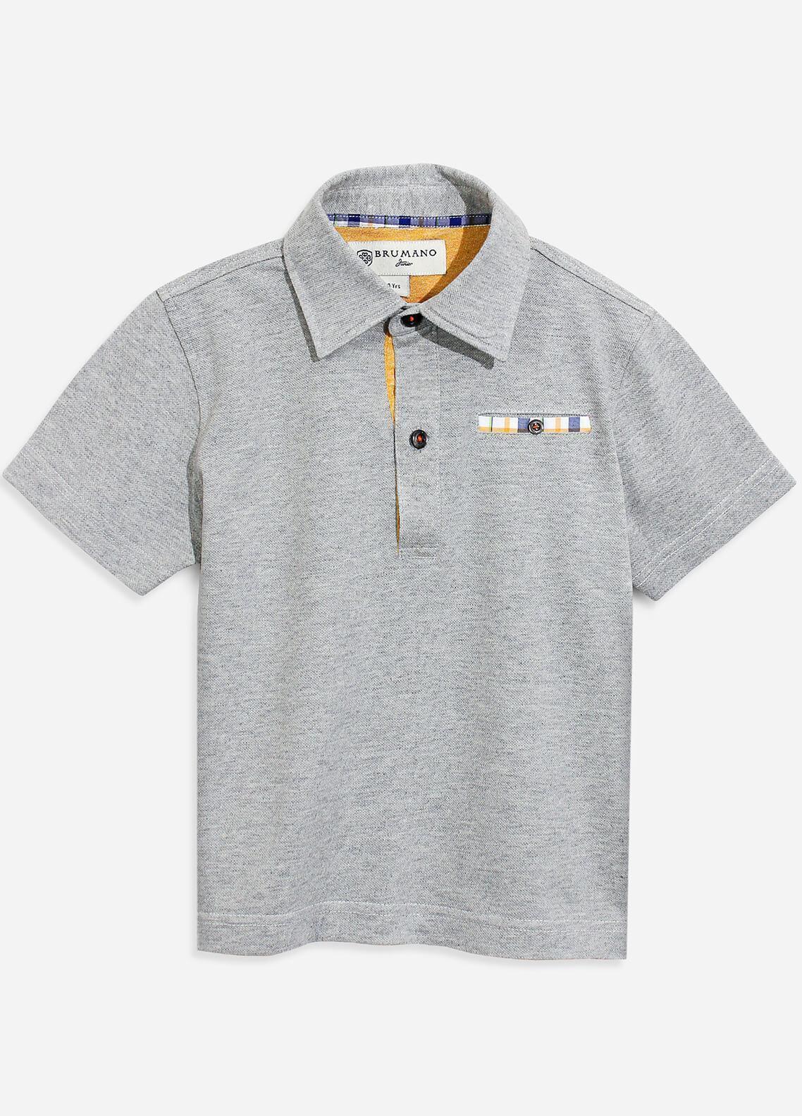 Brumano Cotton Polo Boys Shirts - Grey BRM-088