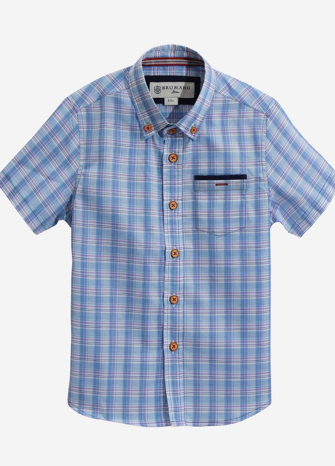 Brumano Cotton Casual Boys Shirts - Blue BRM-817