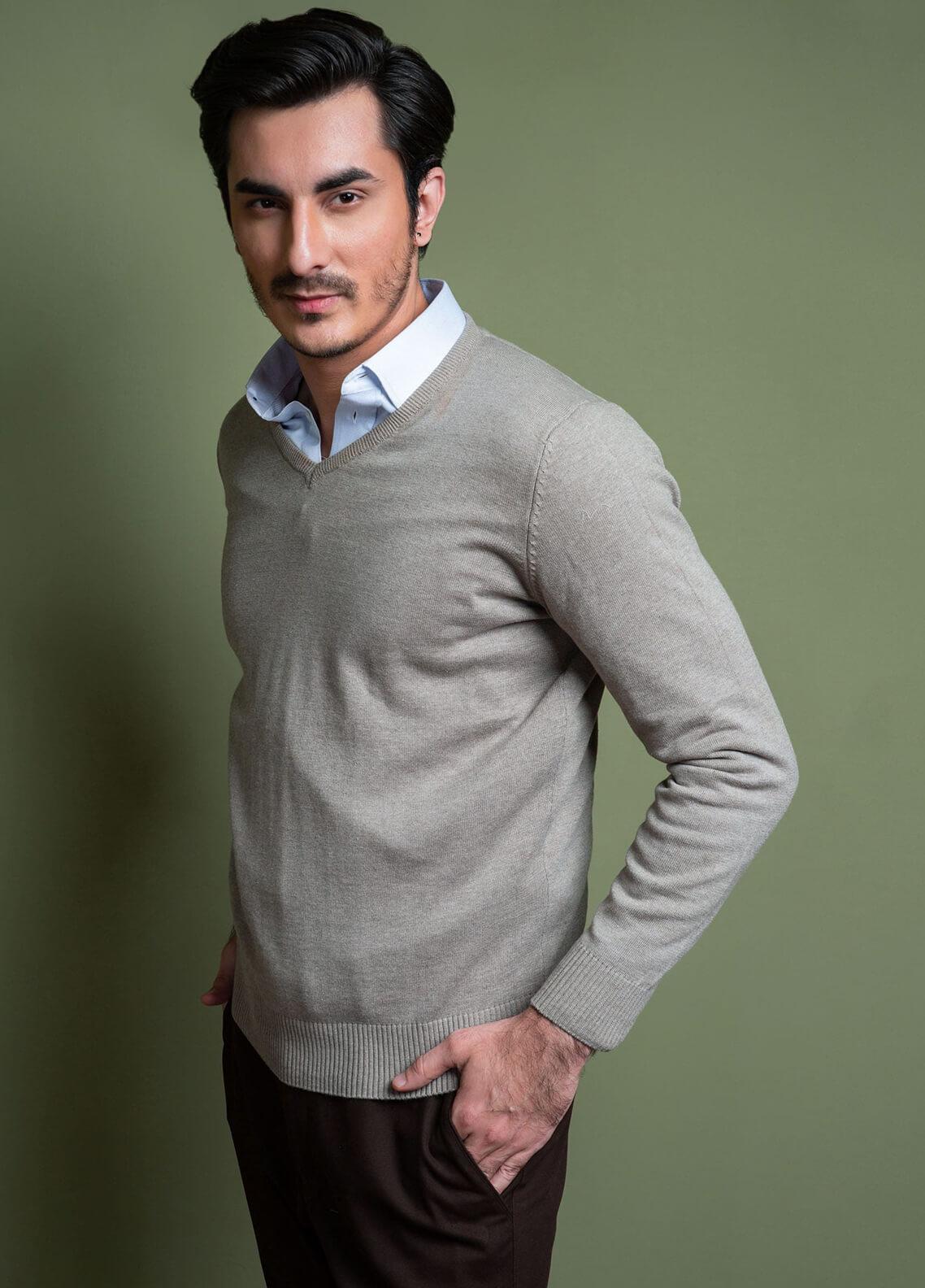 Brumano Cotton Full Sleeves V-Neck Sweaters for Men -  FS-283