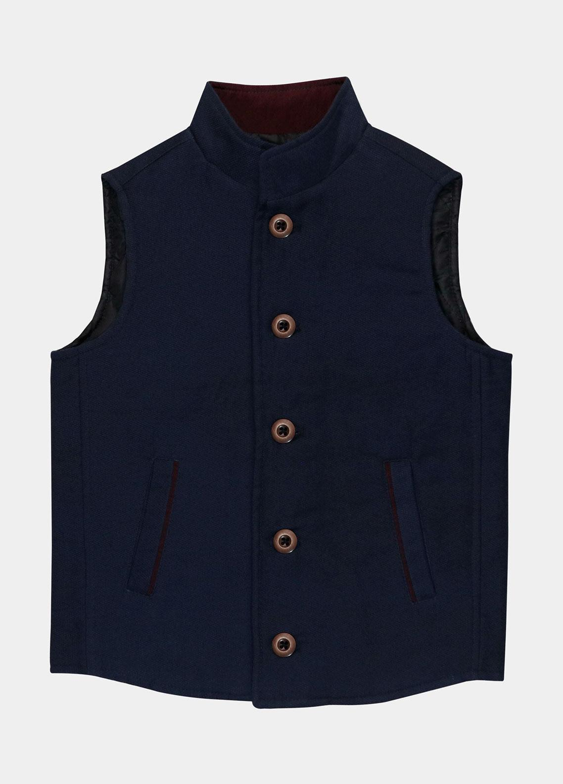 Brumano Polyester Casual Boys Jackets -  BM20JJ Navy Structured Quilted Casual Sleeveless Vest - Junior