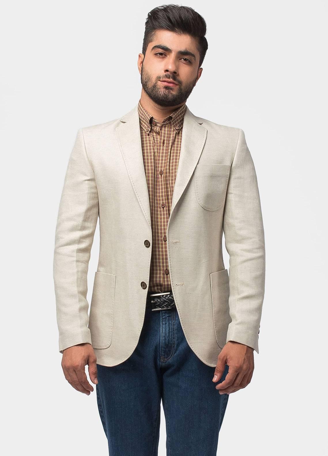 Brumano Linen Casual Blazer for Men - Beige BLZ-501