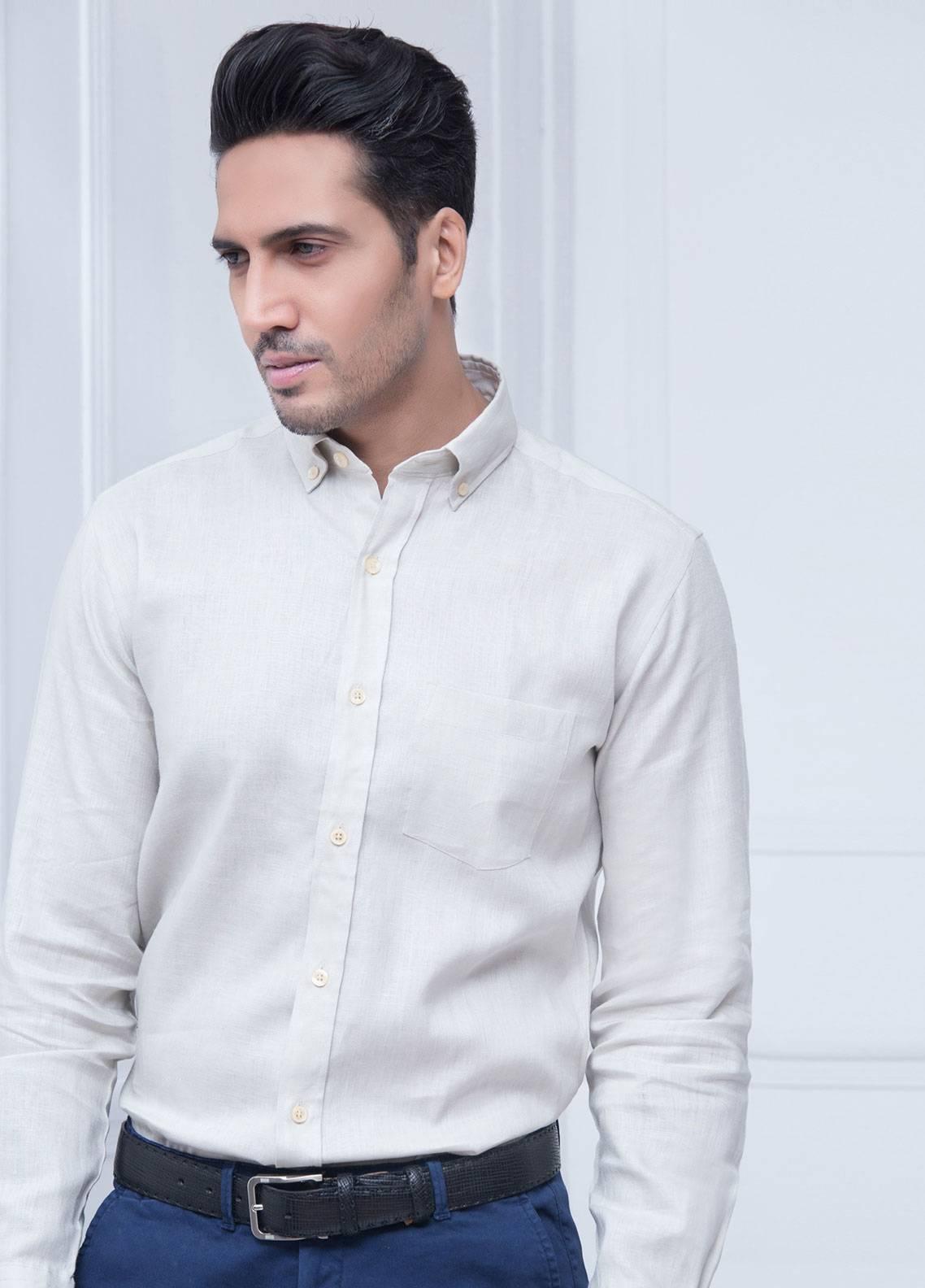 Brumano Linen Formal Shirts for Men   Beige BRM 183