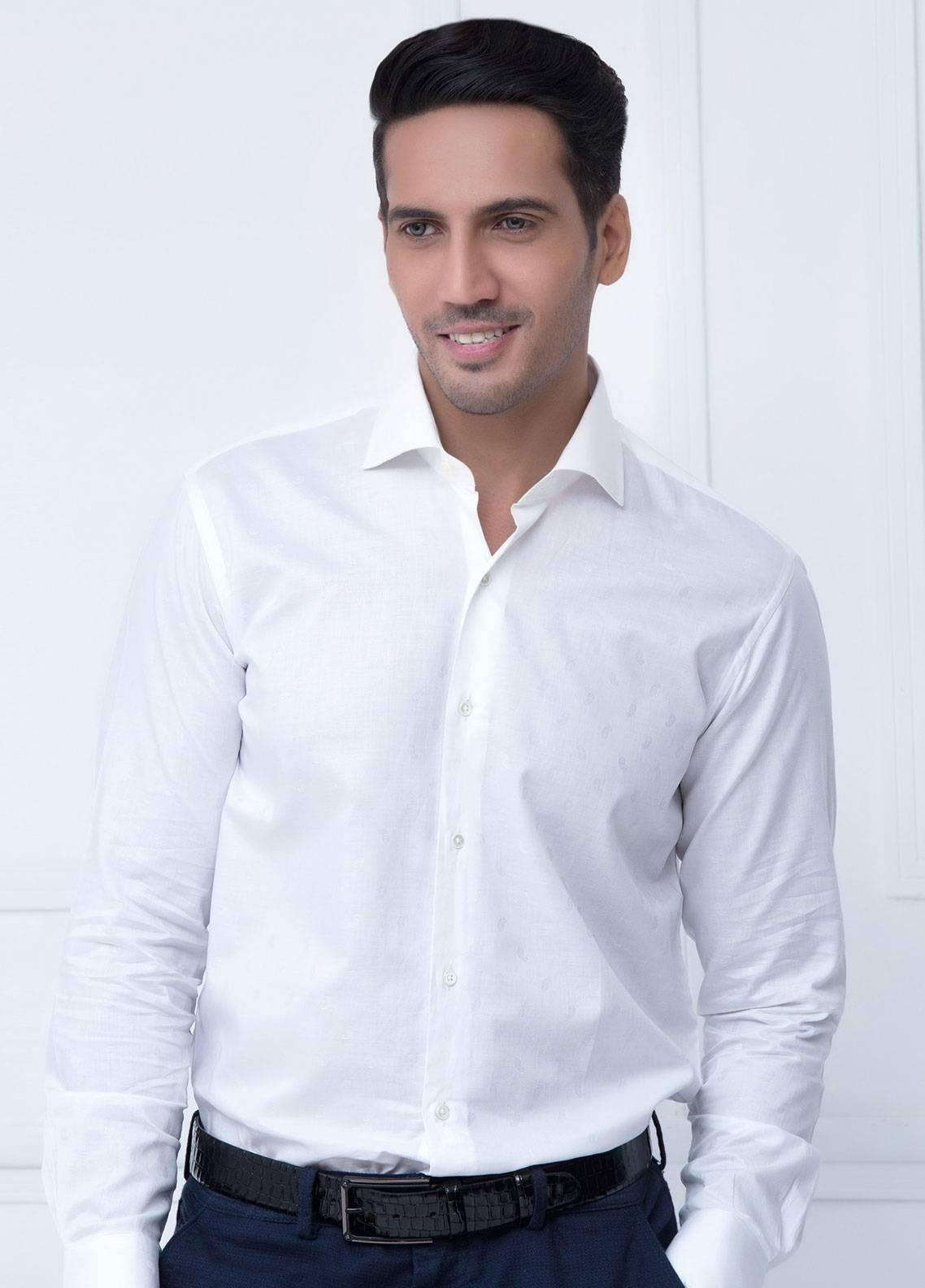 Brumano Cotton Formal Men Shirts   White BRM 192 B