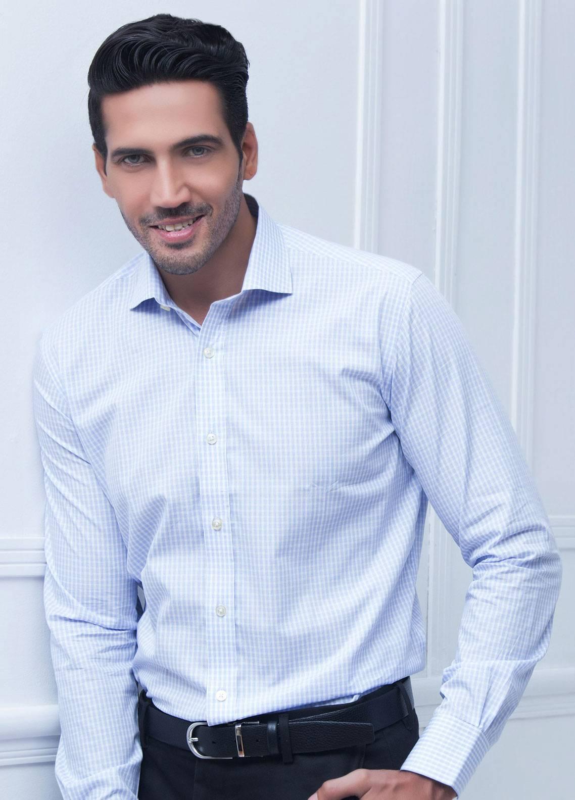 Brumano Cotton Formal Men Shirts   Blue BRM 199