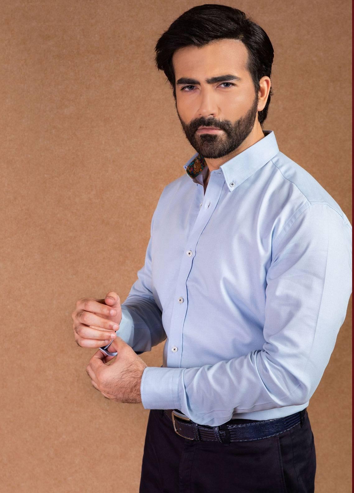 Brumano Cotton Formal Men Shirts - Blue BRM-480
