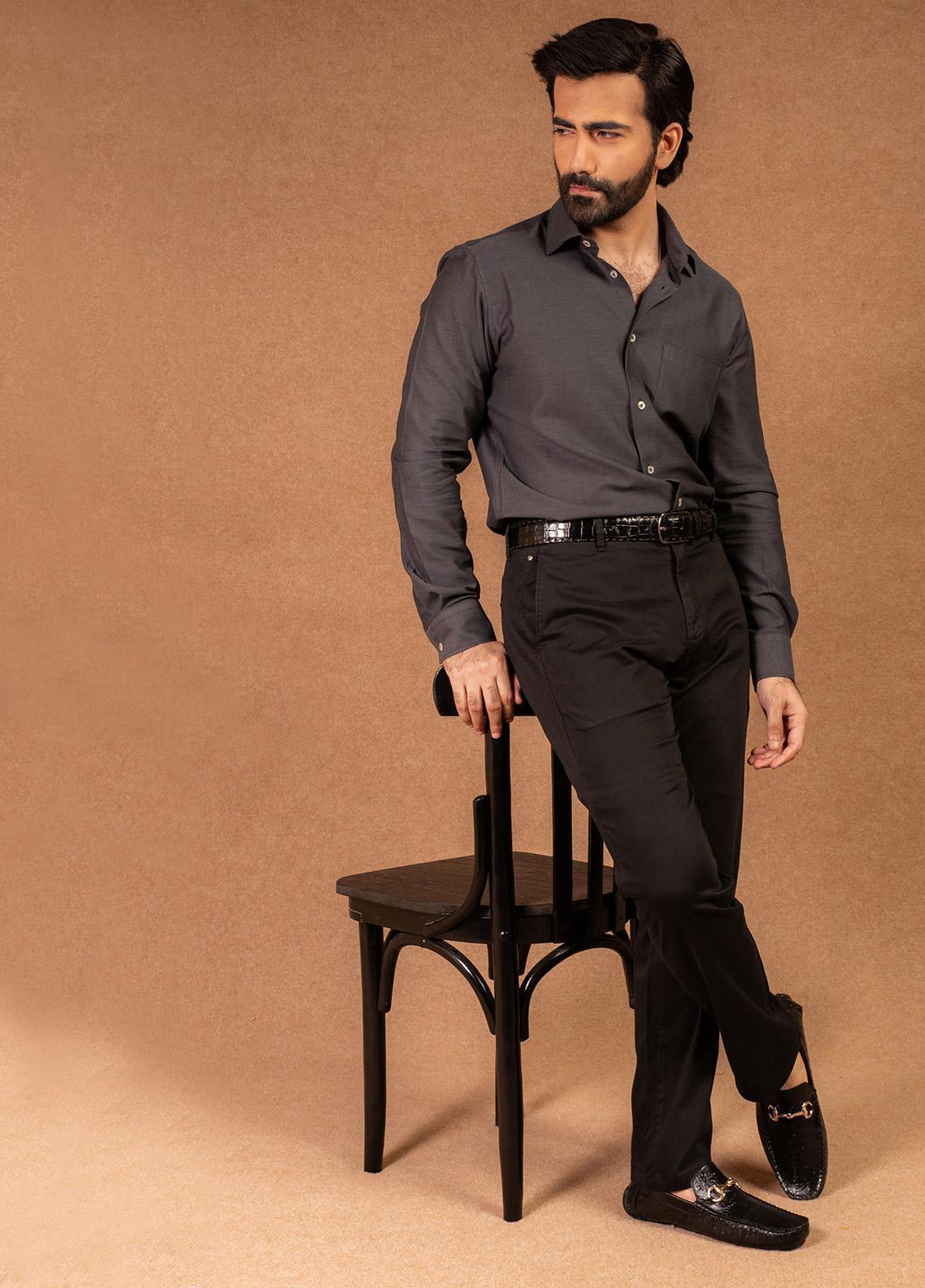 Brumano Cotton Formal Men Shirts - Black BRM-566