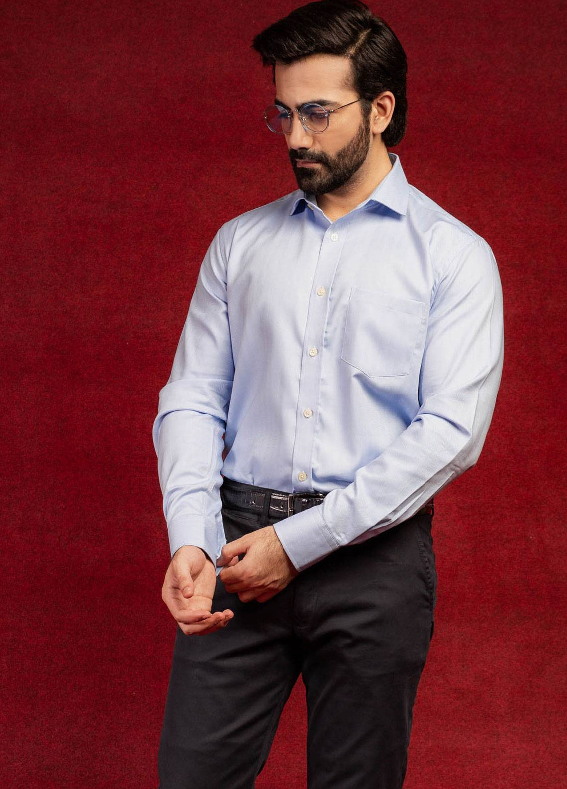 Brumano Cotton Formal Men Shirts - Blue BRM-577