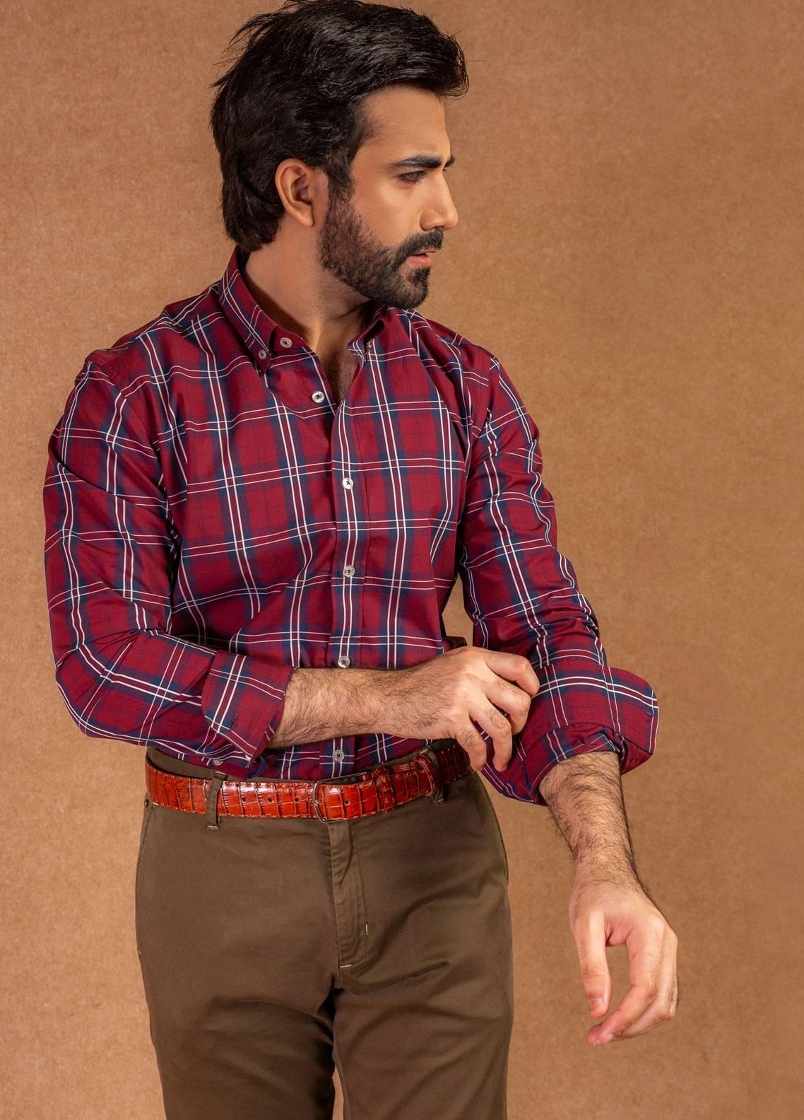 Brumano Cotton Formal Shirts for Men - Maroon BRM-579