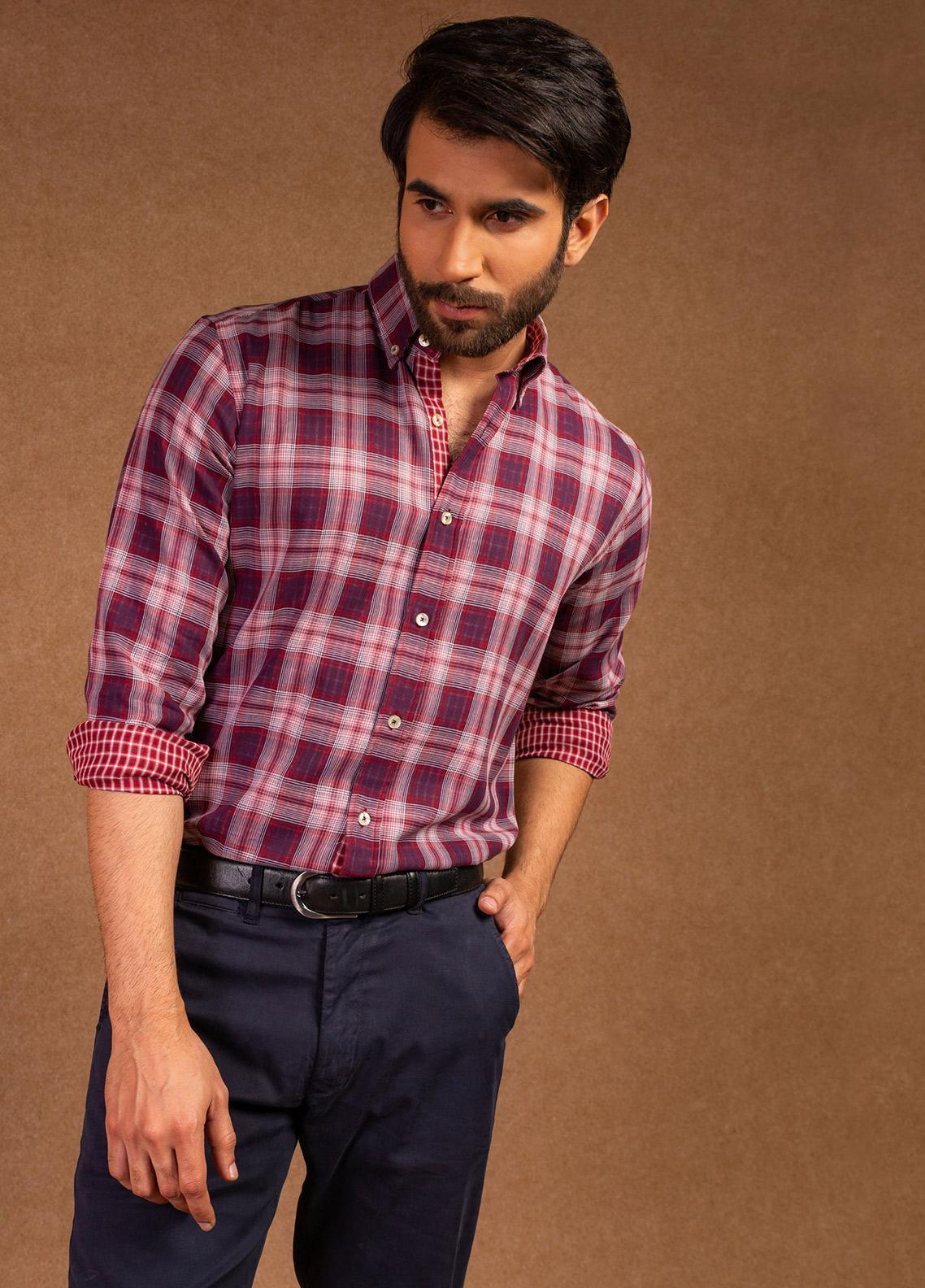 Brumano Cotton Formal Shirts for Men - Purple BRM-581