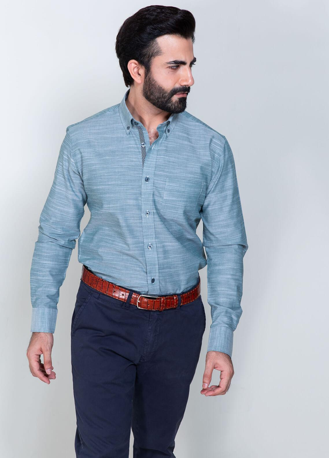 Brumano Cotton Formal Shirts for Men - Blue BRM-588