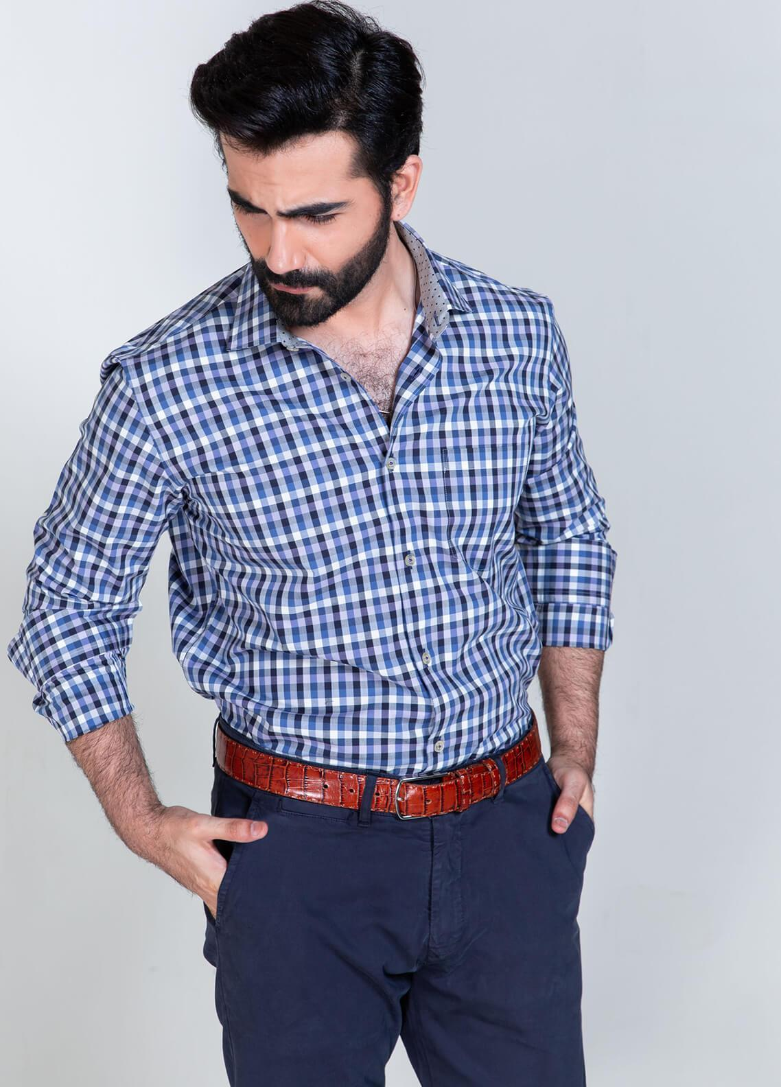 Brumano Cotton Formal Men Shirts - Blue BRM-606