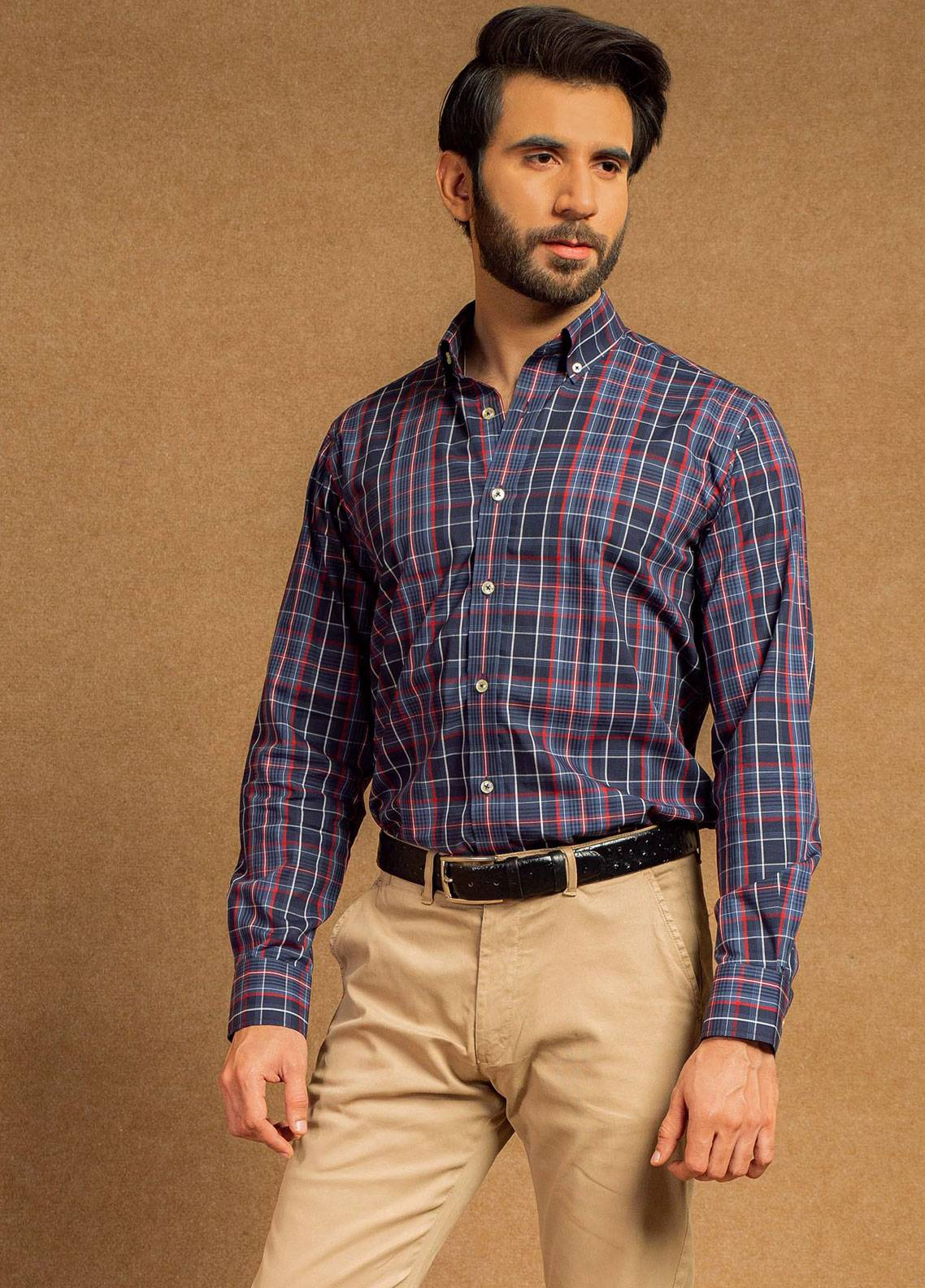 Brumano Cotton Formal Shirts for Men - Blue BRM-612