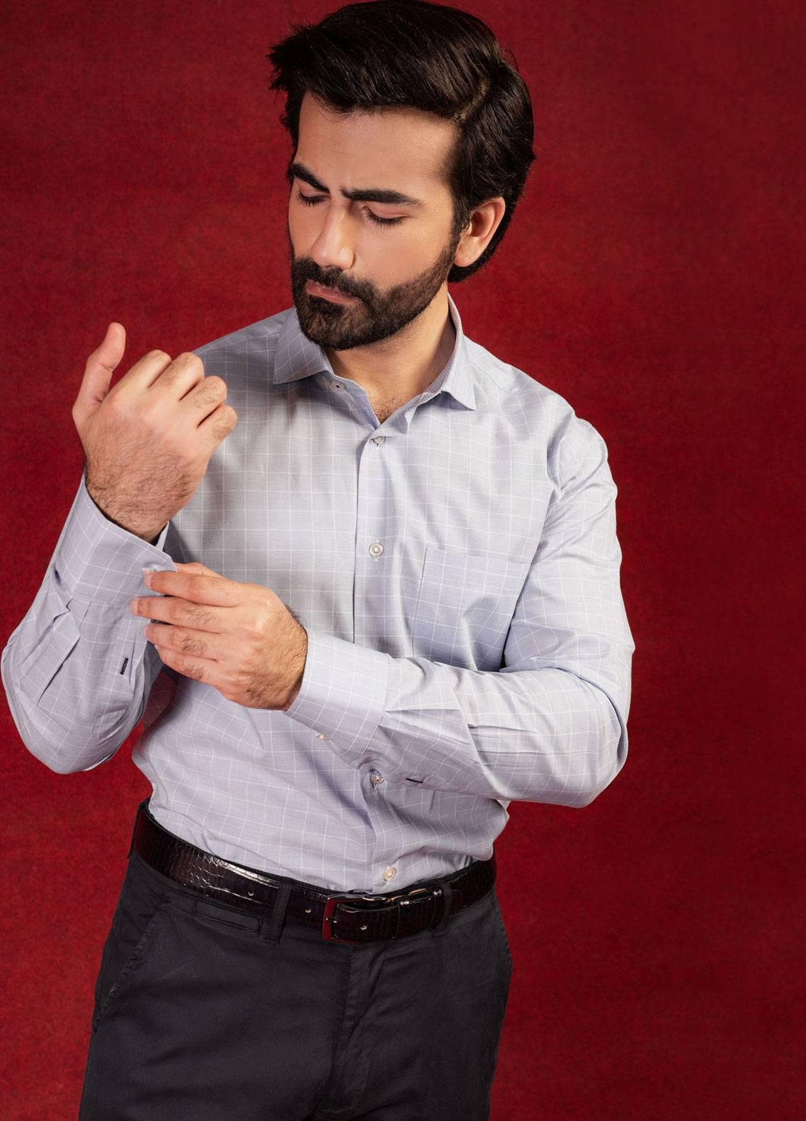 Brumano Cotton Formal Men Shirts - Grey BRM-616