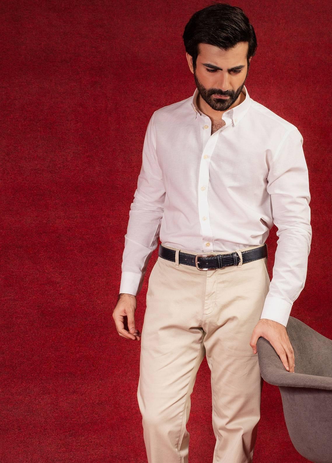 Brumano Cotton Formal Men Shirts - White BRM-640