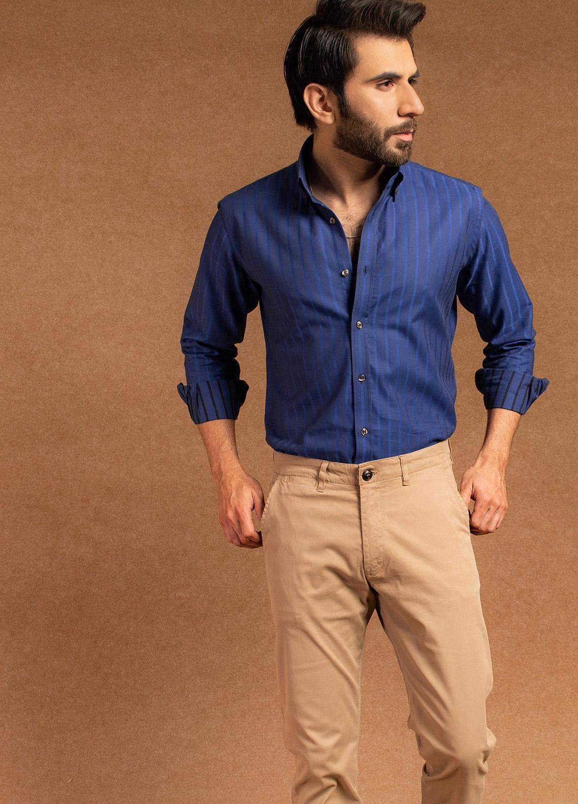 Brumano Cotton Formal Men Shirts - Navy Blue BRM-646