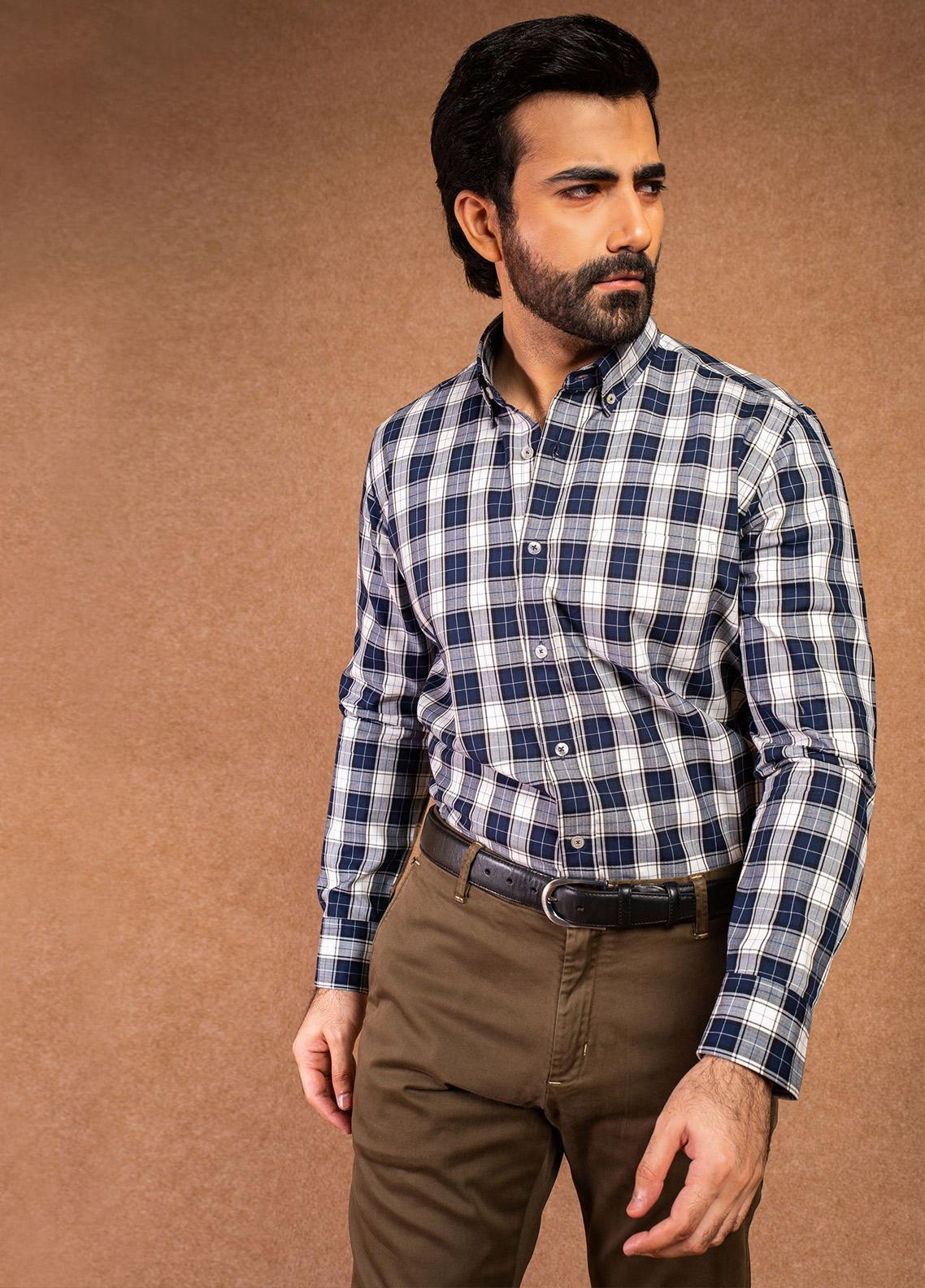 Brumano Cotton Formal Shirts for Men - Blue BRM-648