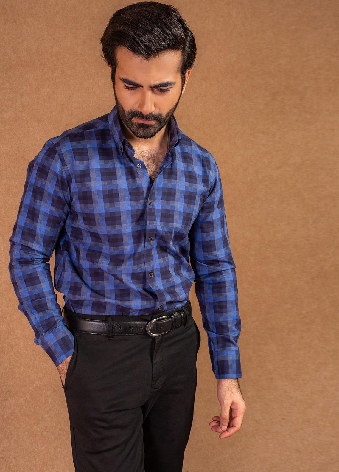 Brumano Cotton Formal Men Shirts - Blue BRM-653