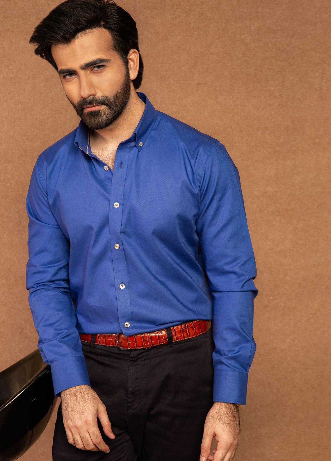 Brumano Cotton Formal Shirts for Men - Royal Blue BRM-724
