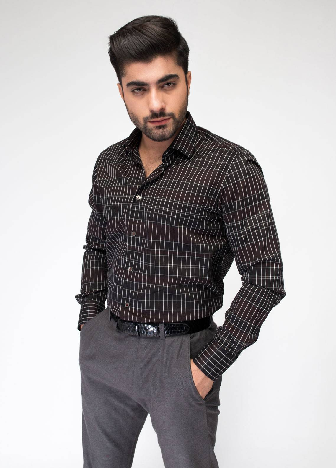 Brumano Cotton Formal Shirts for Men - Black BRM-787