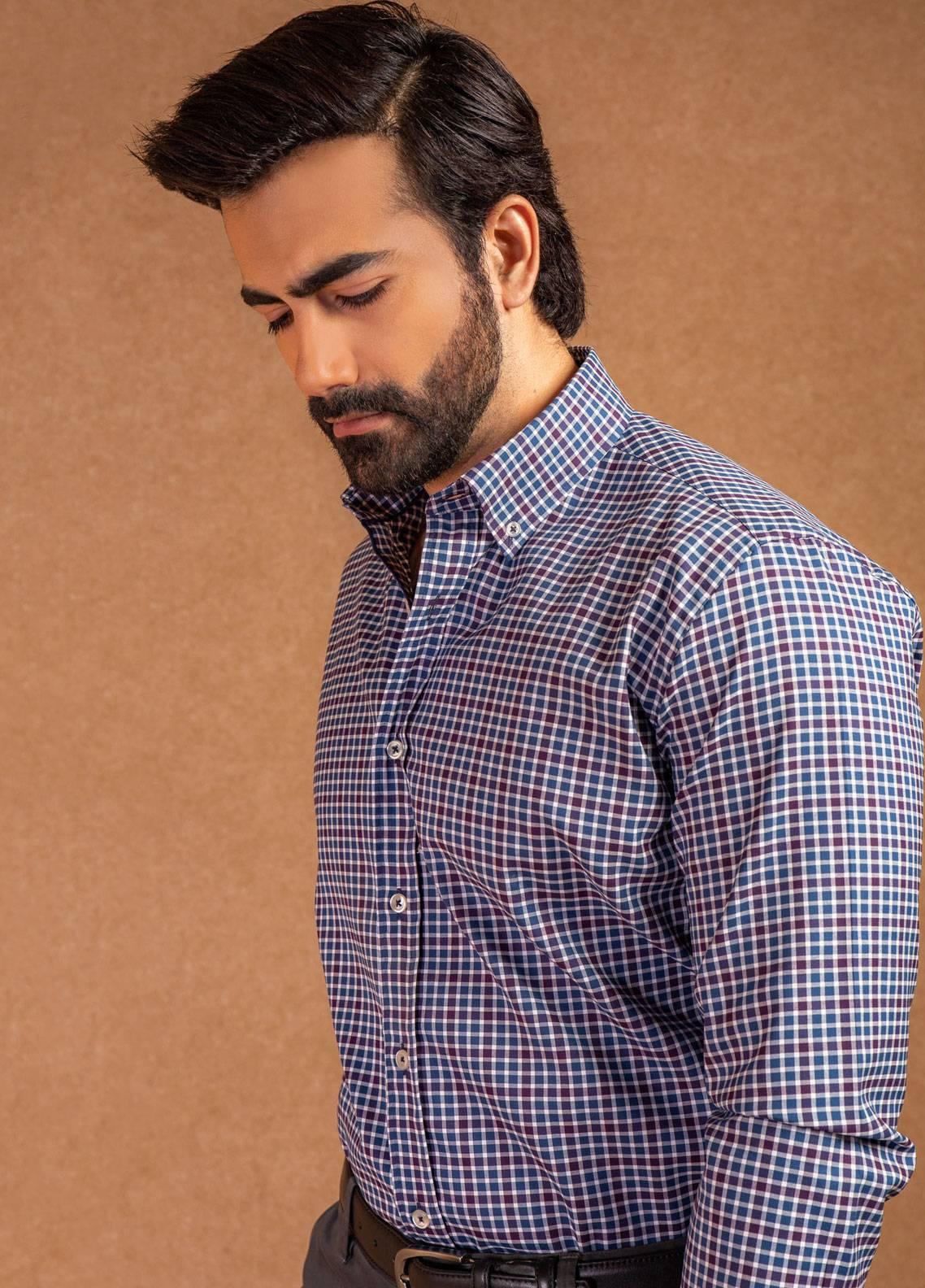 Brumano Cotton Formal Men Shirts - Blue BRM-802