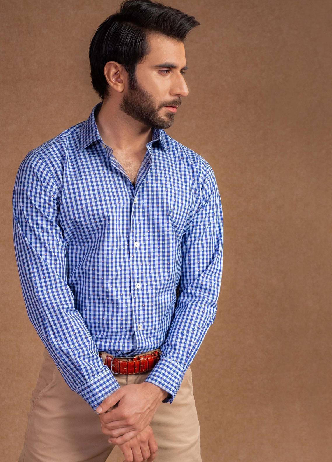 Brumano Cotton Formal Men Shirts - Blue BRM-829