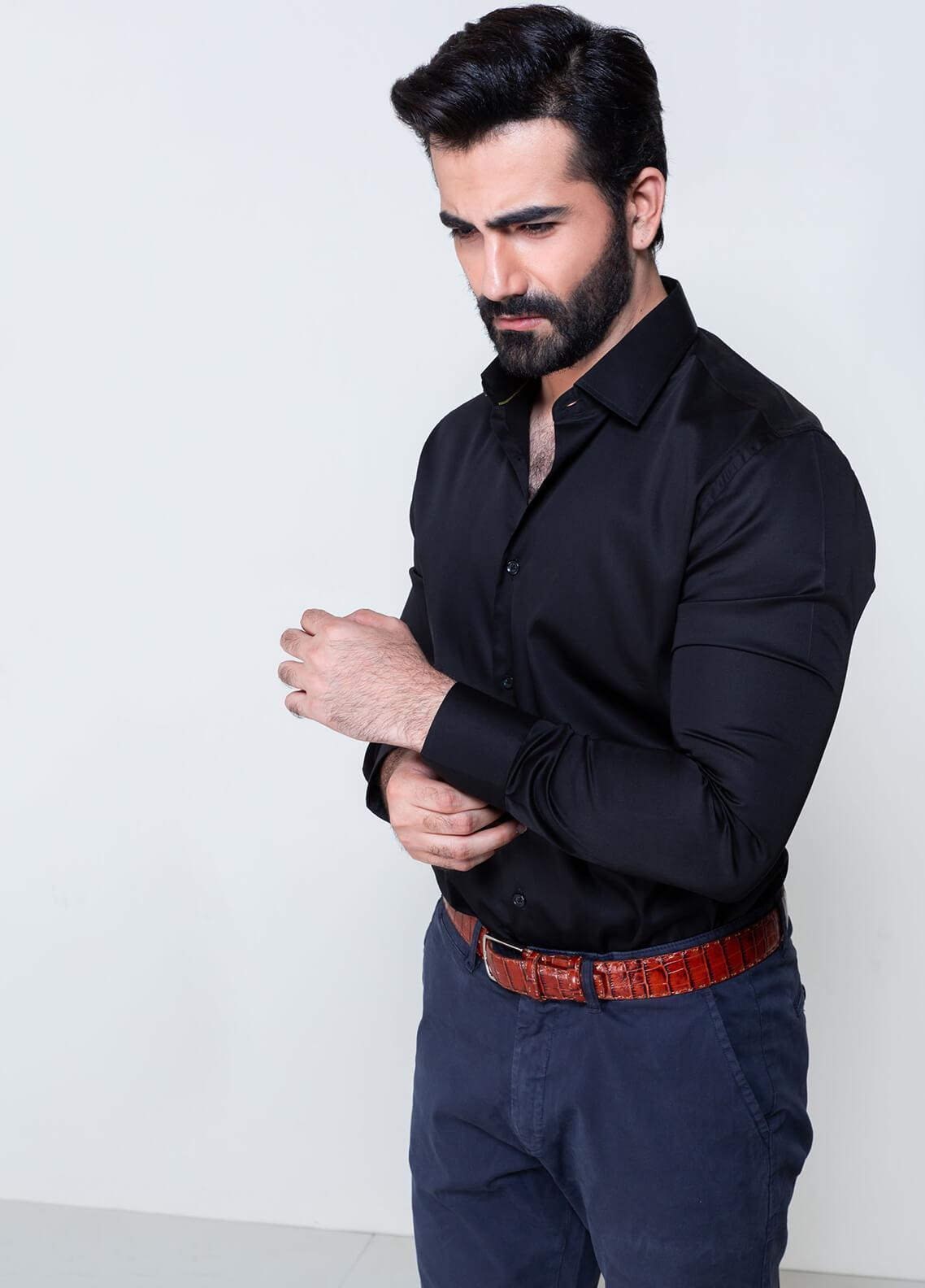 Brumano Cotton Formal Shirts for Men - Black BRM-854