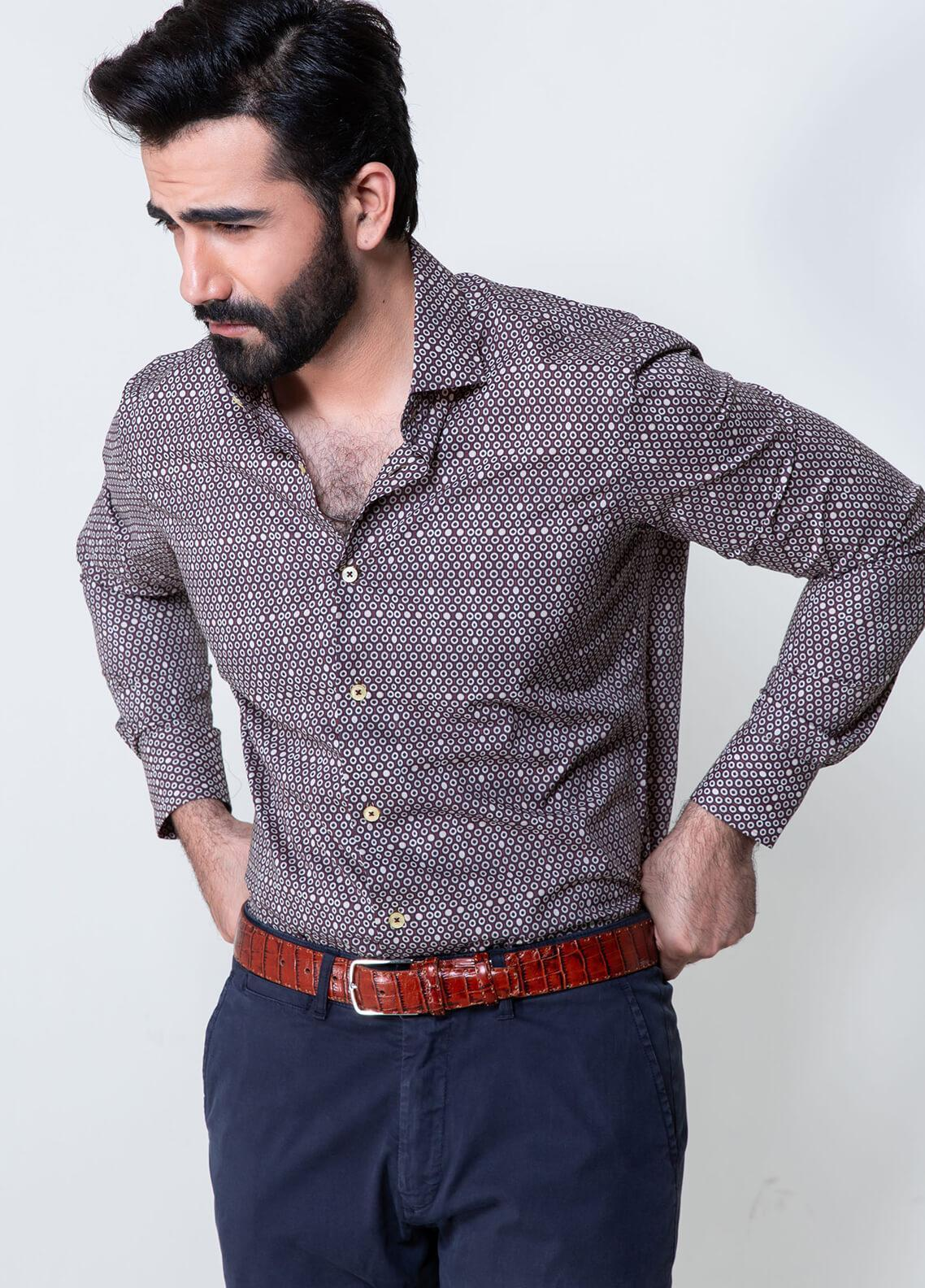 Brumano Cotton Formal Shirts for Men - Burgundy BRM-859