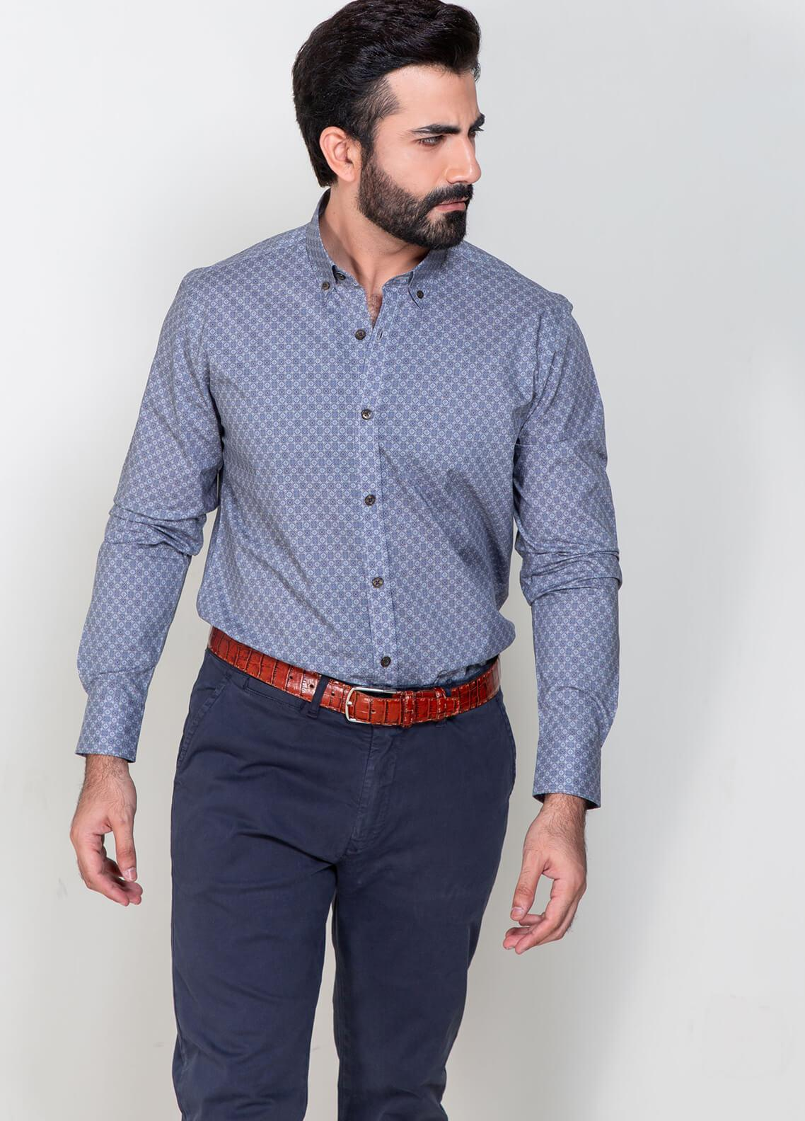 Brumano Cotton Formal Men Shirts - Blue BRM-865