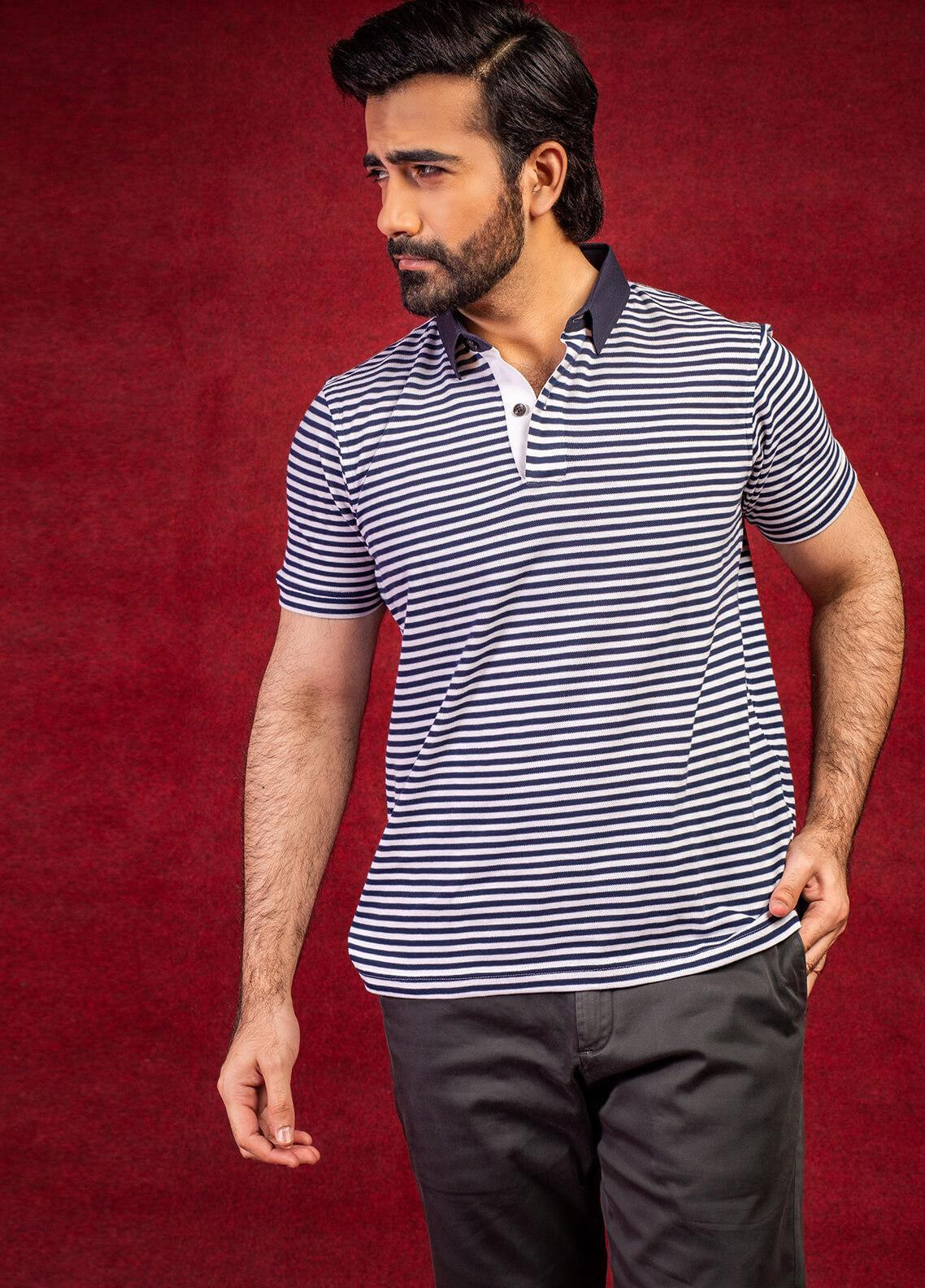 Brumano Cotton Polo Shirts for Men - Blue BRM-41-0122