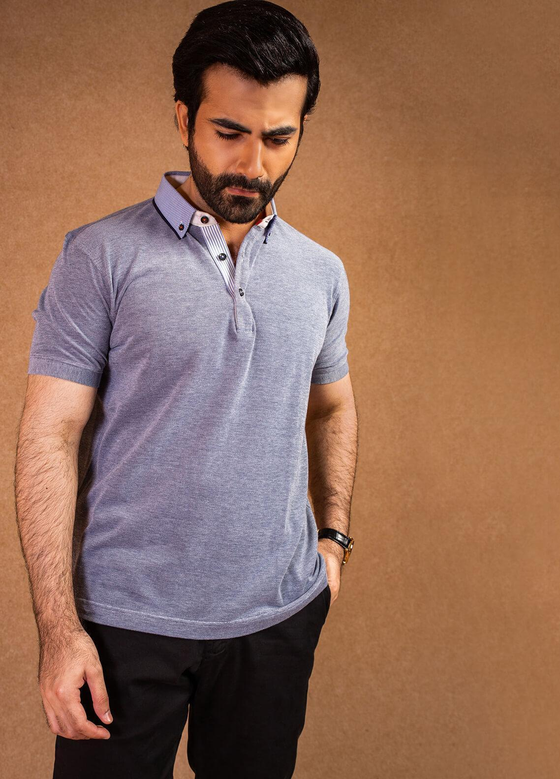 Brumano Cotton Polo Men Shirts - Blue BRM-41-0123