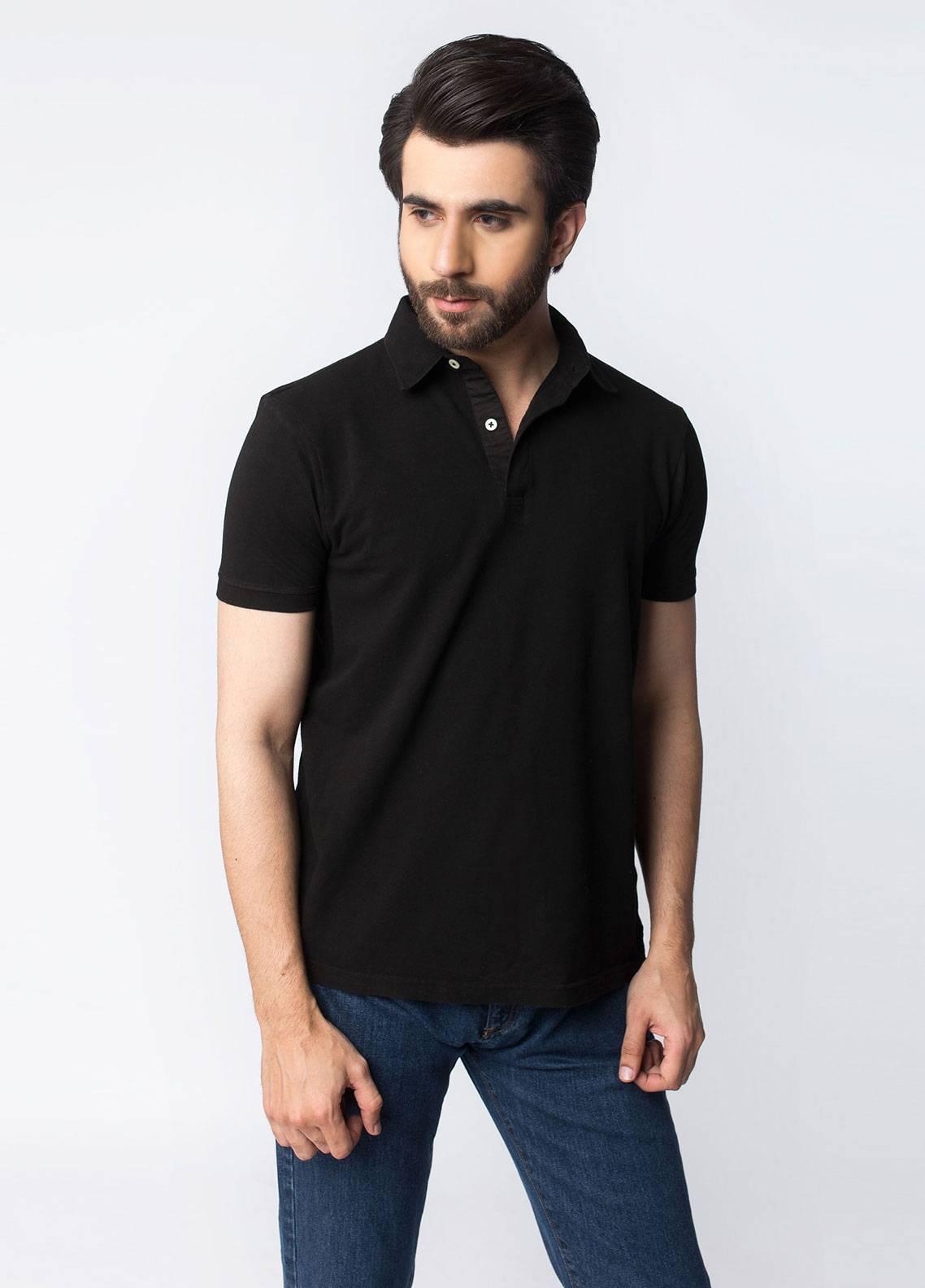 Brumano Cotton Polo Shirts for Men - Black BRM-41-406-Black