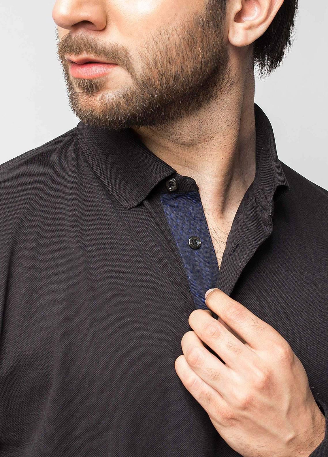 Brumano Cotton Polo Men Full Sleeve Shirts - Black BRM-43-420