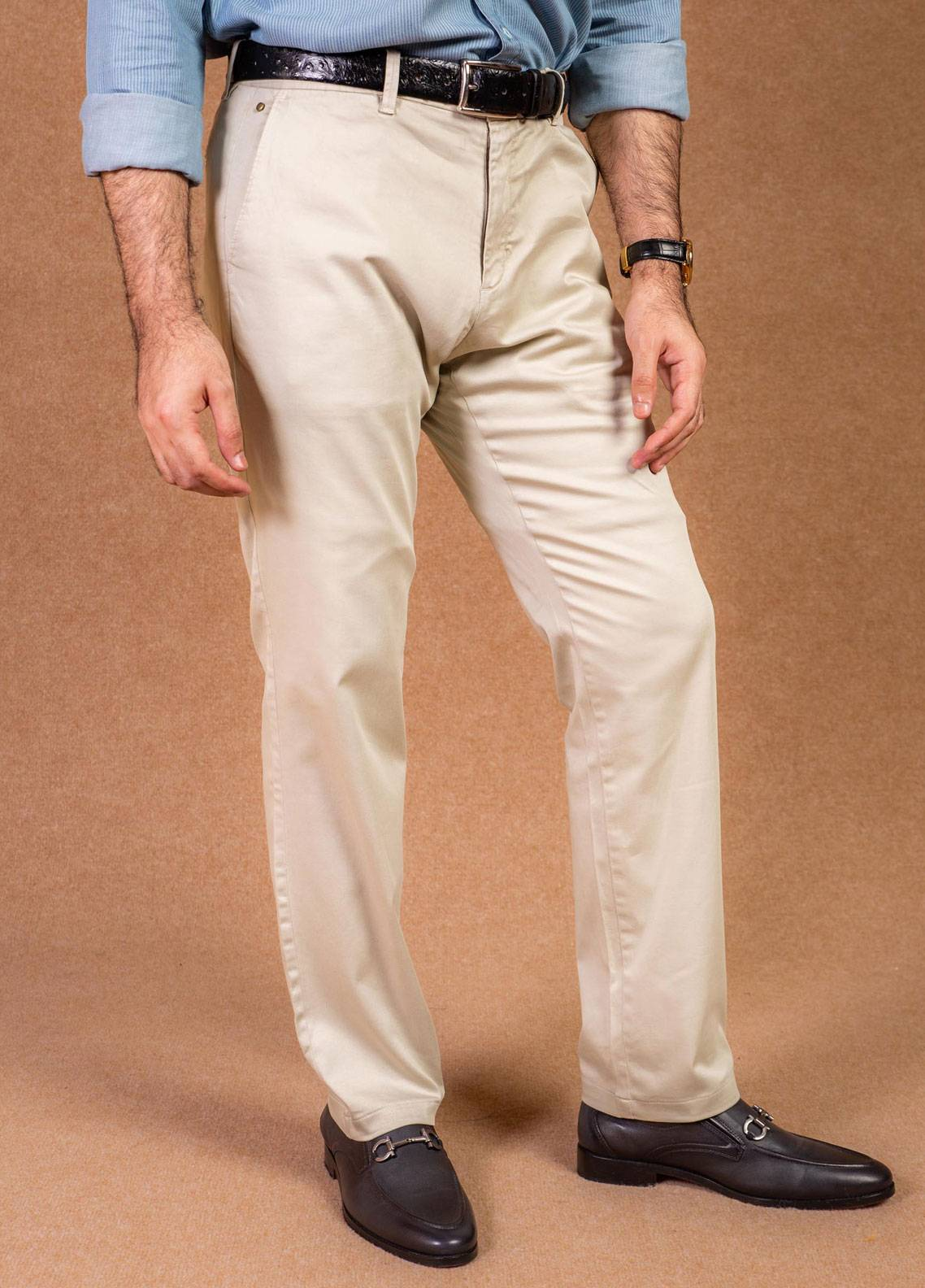 Brumano Cotton Formal Pants for Men -  BRM-008 Beige
