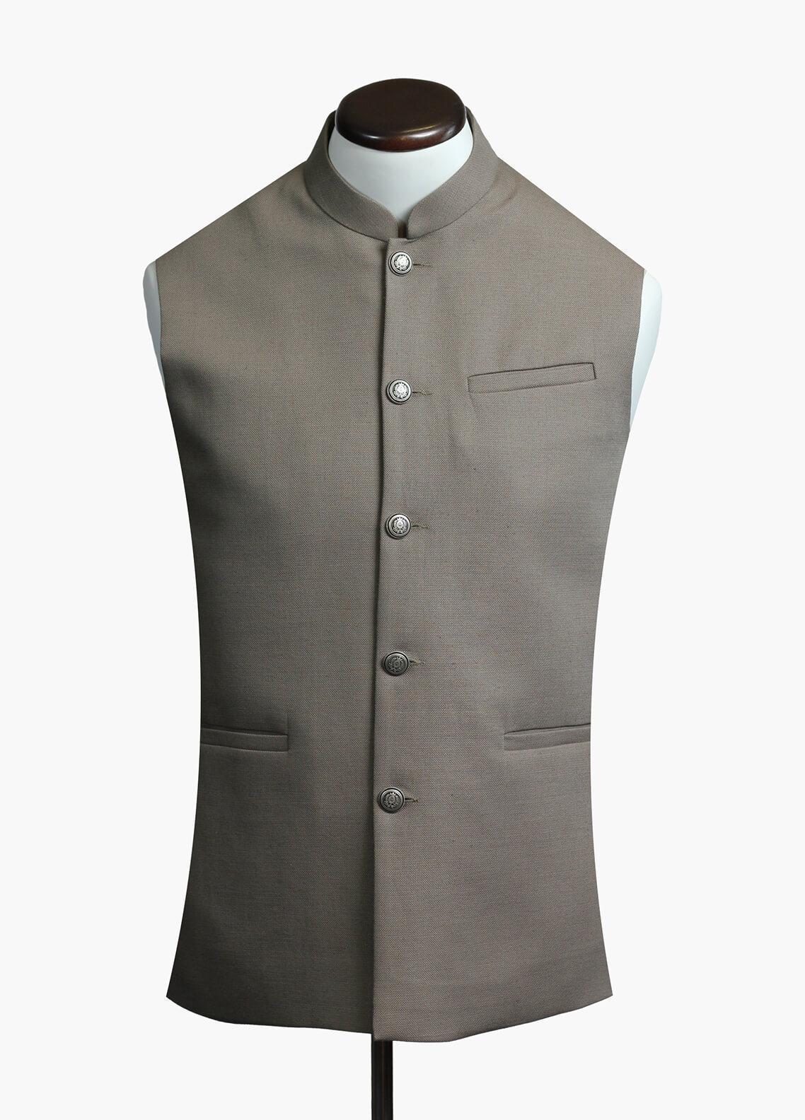 Brumano Linen Formal Waistcoat for Men - Khaaki BRM-715
