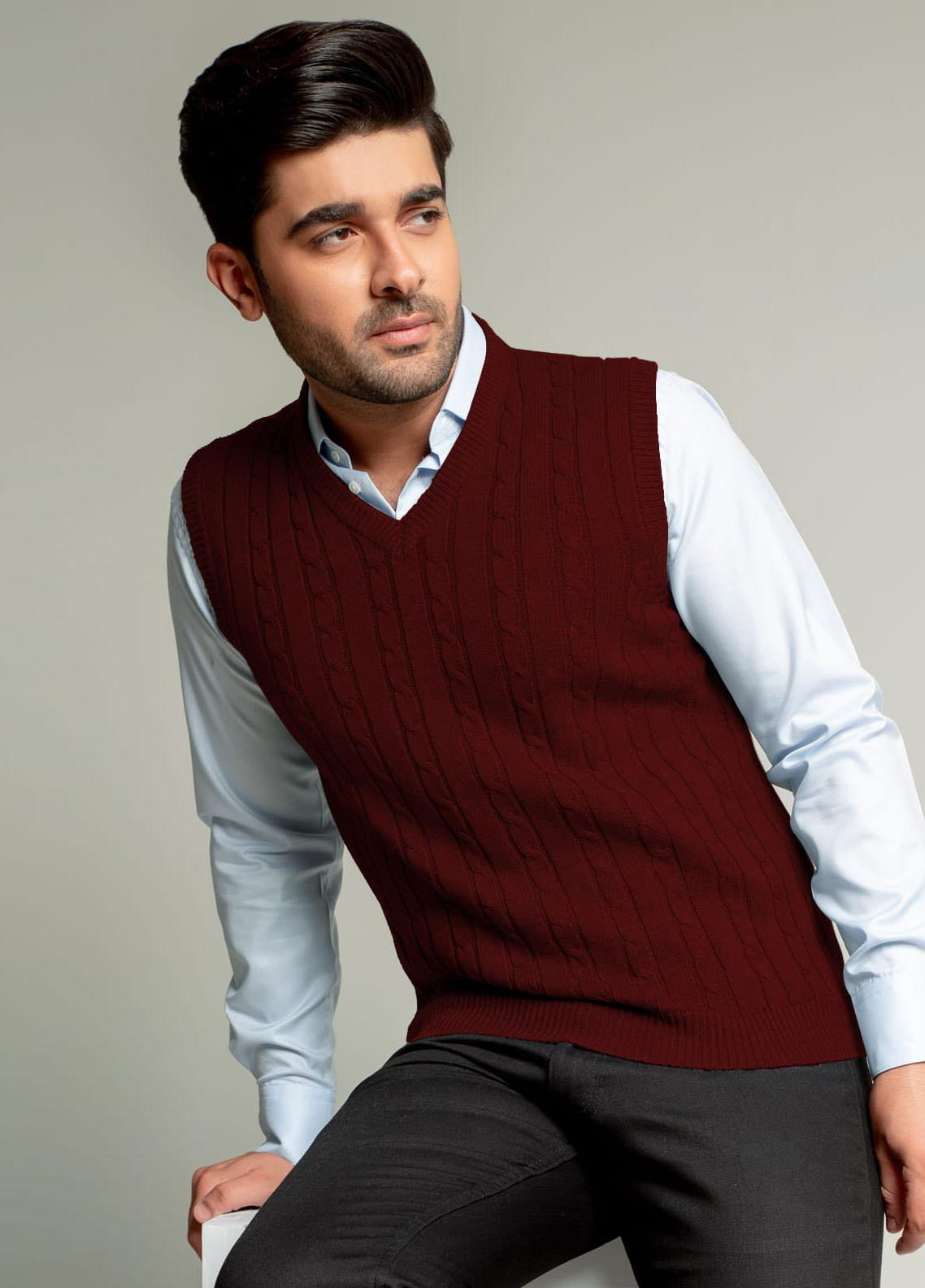 Brumano Acrylic Sleeveless Sweaters for Men -  BM20WS Maroon Sleeveless Cable Knitted Sweater