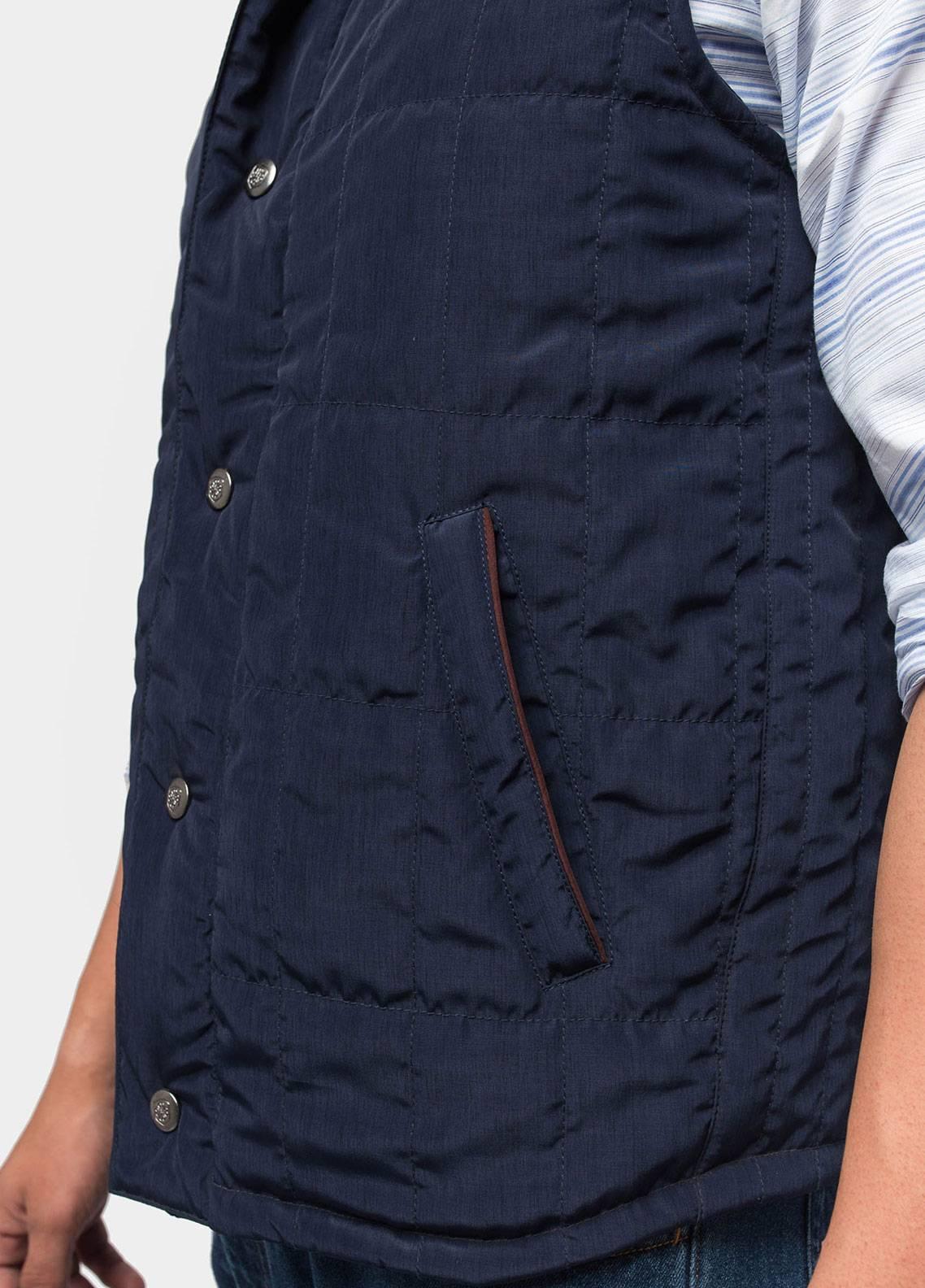 Brumano Polyester Sleeveless Men Jackets - Navy Blue BRM-12-1003