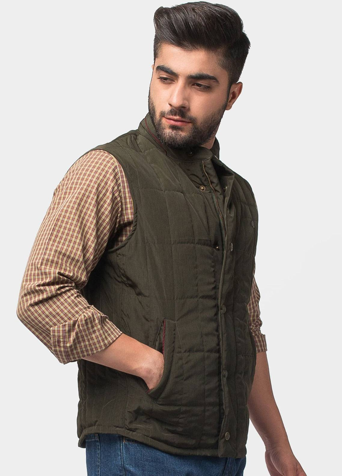 Brumano Polyester Sleeveless Jackets for Men - Olive BRM-12-1007