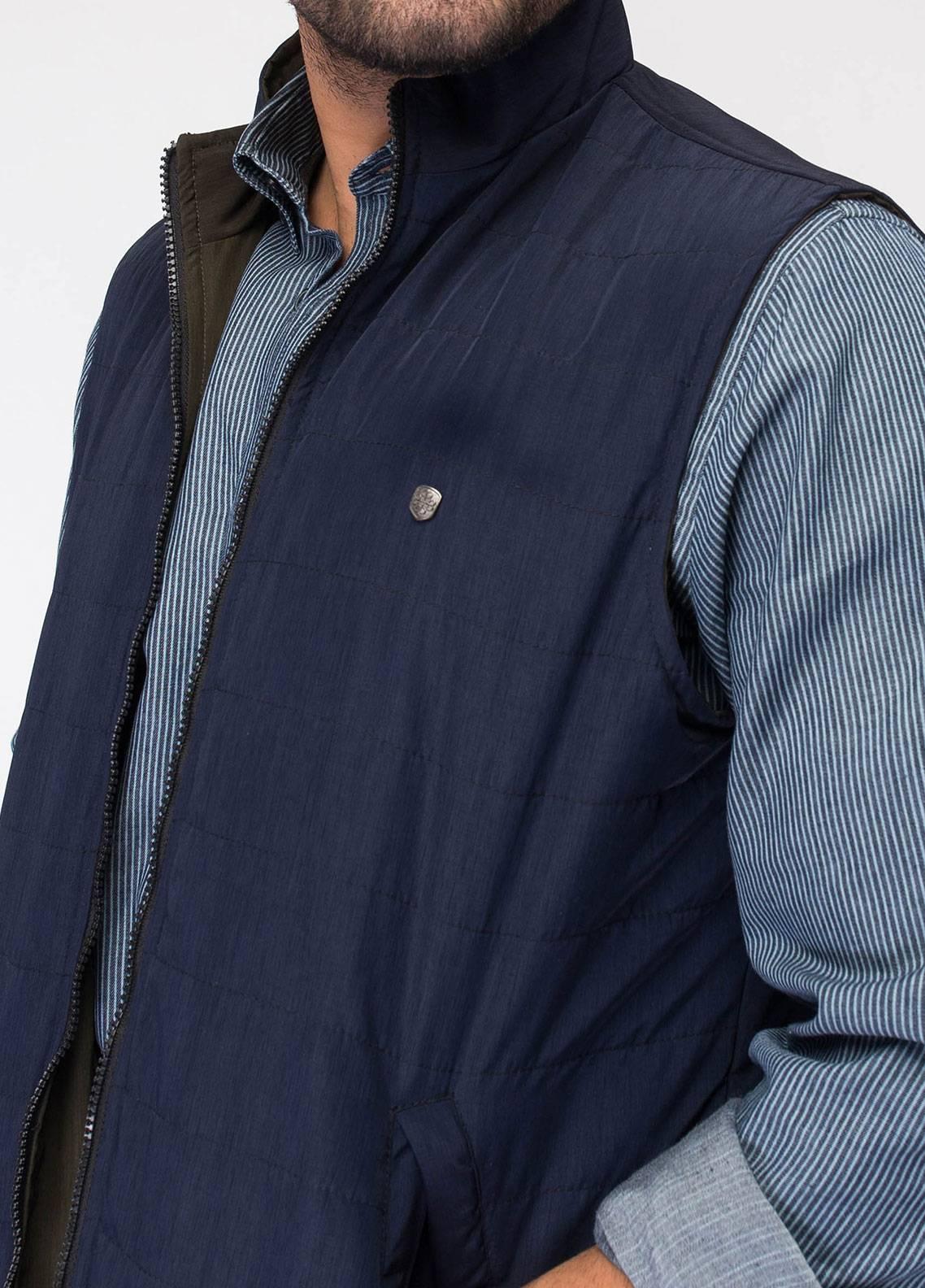 Brumano Polyester Sleeveless Reversible Jackets for Men - Navy Blue BRM-13-1003