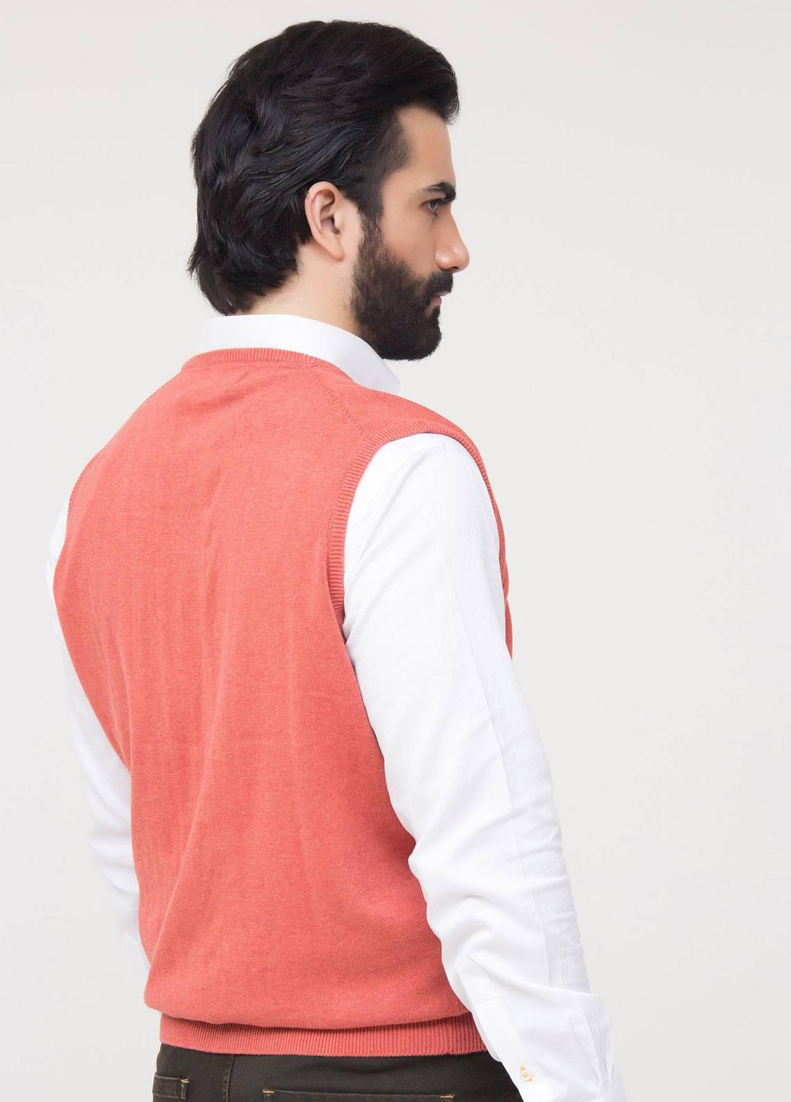 Brumano Cotton Sleeveless Men V-Neck Sweaters - Red SL-534