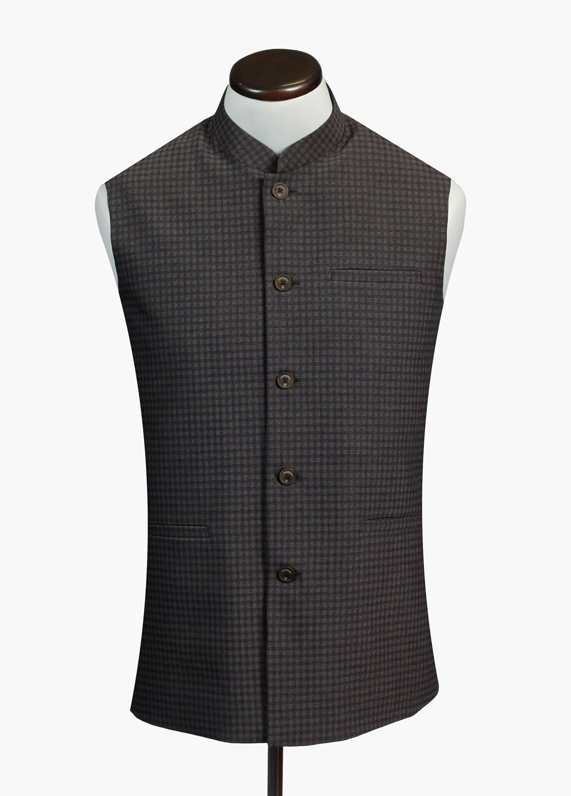 Brumano Cotton Formal Waistcoat for Men - Grey BRM-488