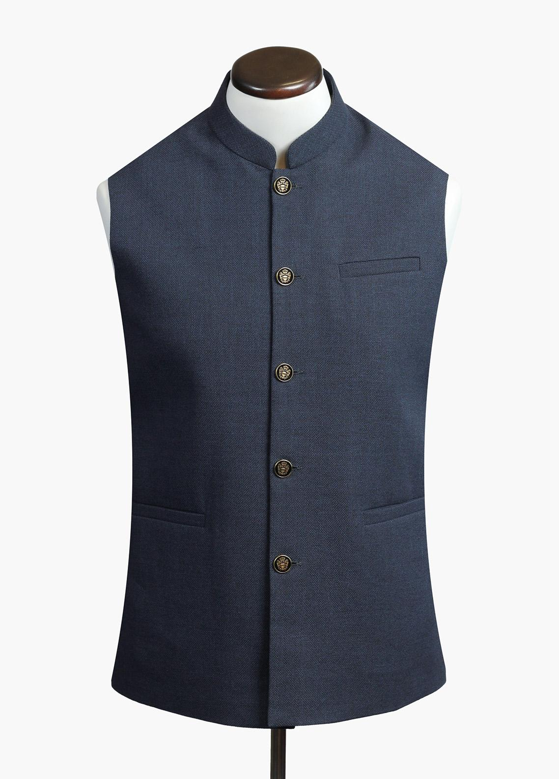 Brumano Cotton Formal Men Waistcoat - Blue BRM-723