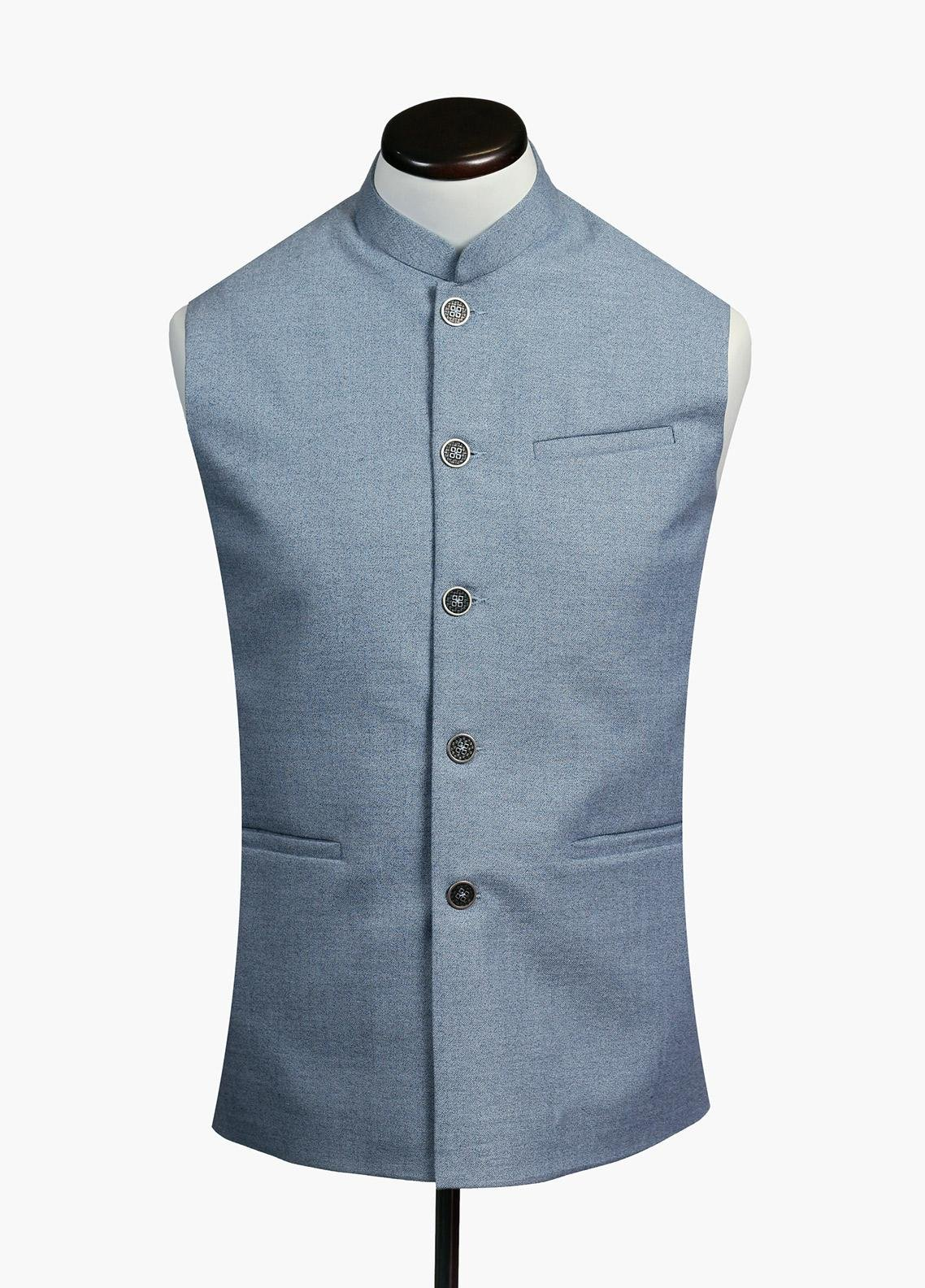 Brumano Cotton Formal Waistcoat for Men - Sky Blue BRM-732
