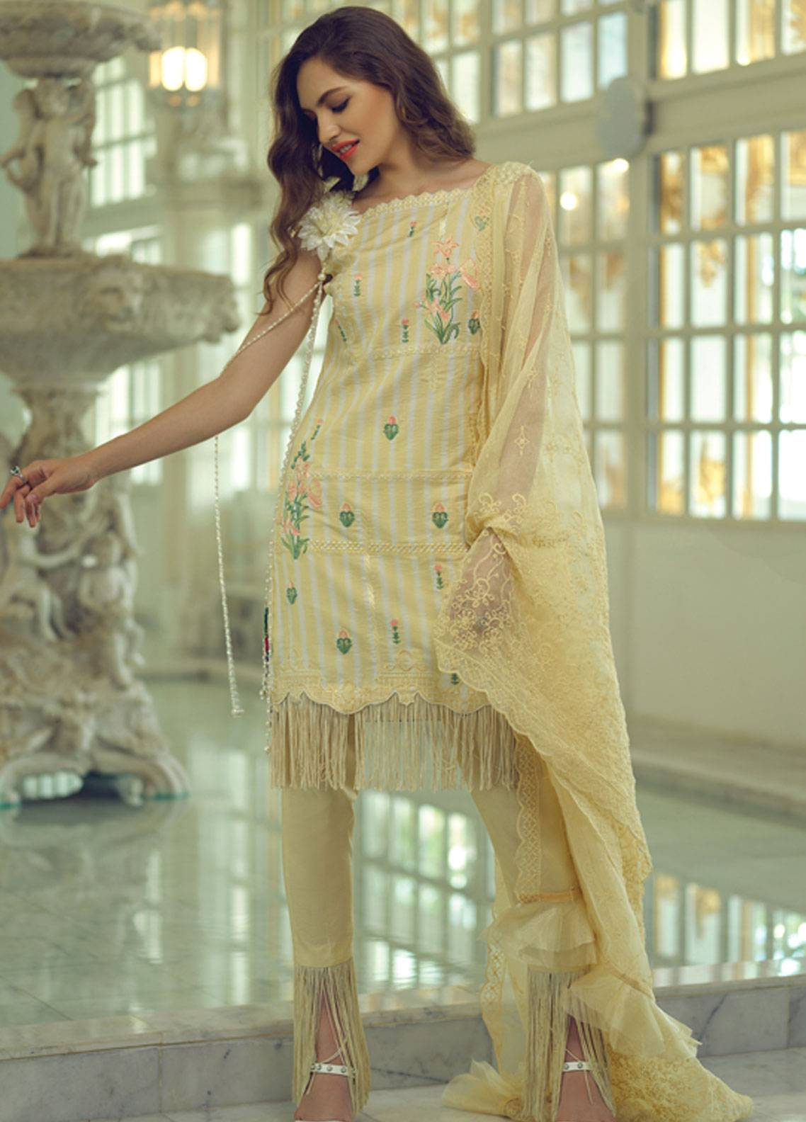 Rang Rasiya Carnation Embroidered Lawn Unstitched 3 Piece Suit RRC19L 701A - Spring / Summer Collection