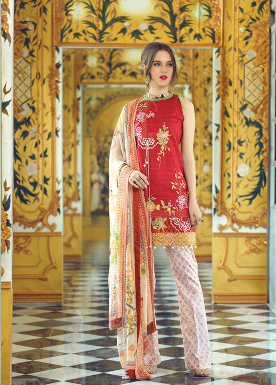 Rang Rasiya Carnation Embroidered Lawn Unstitched 3 Piece Suit RRC19L 704B - Spring / Summer Collection