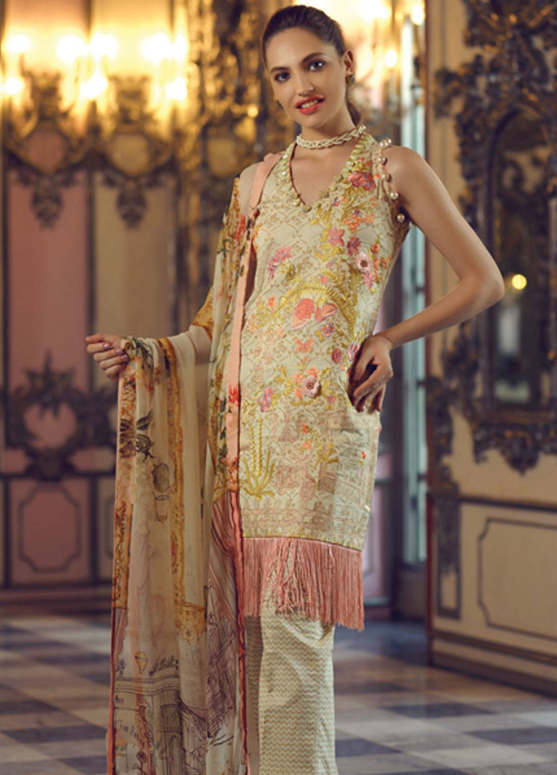 57e7d0b81c Rang Rasiya Carnation Embroidered Lawn Unstitched 3 Piece Suit RRC19L 705A  - Spring / Summer Collection