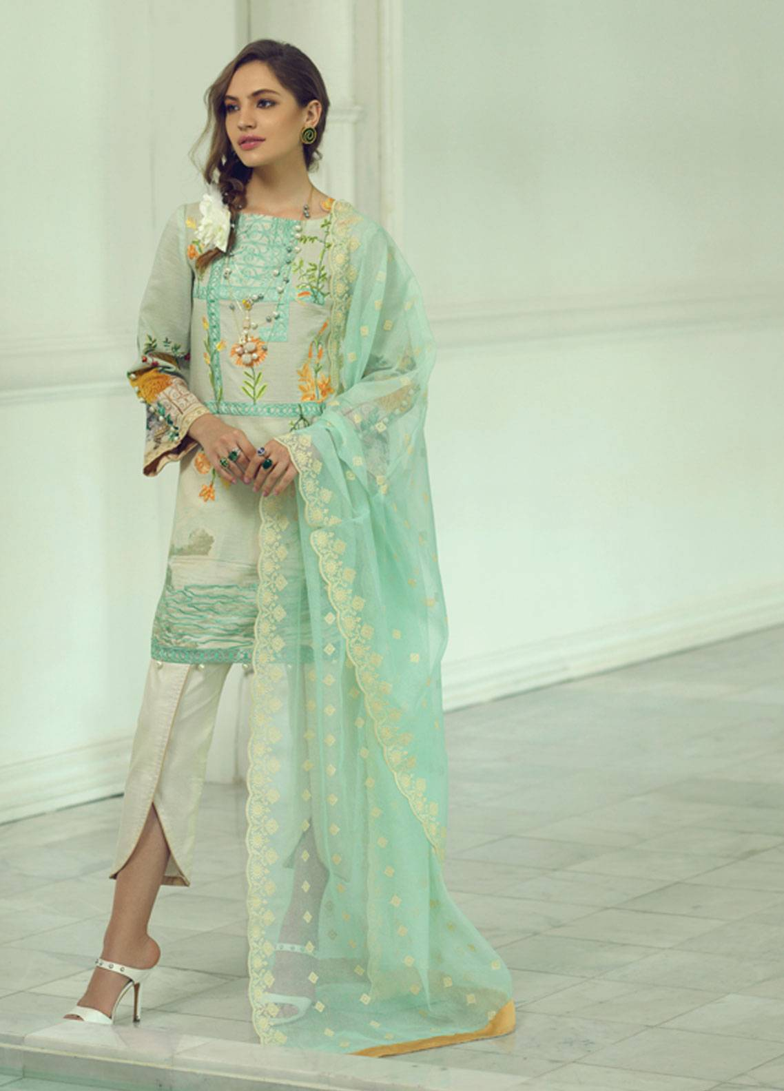 Rang Rasiya Carnation Embroidered Lawn Unstitched 3 Piece Suit RRC19L 708B - Spring / Summer Collection
