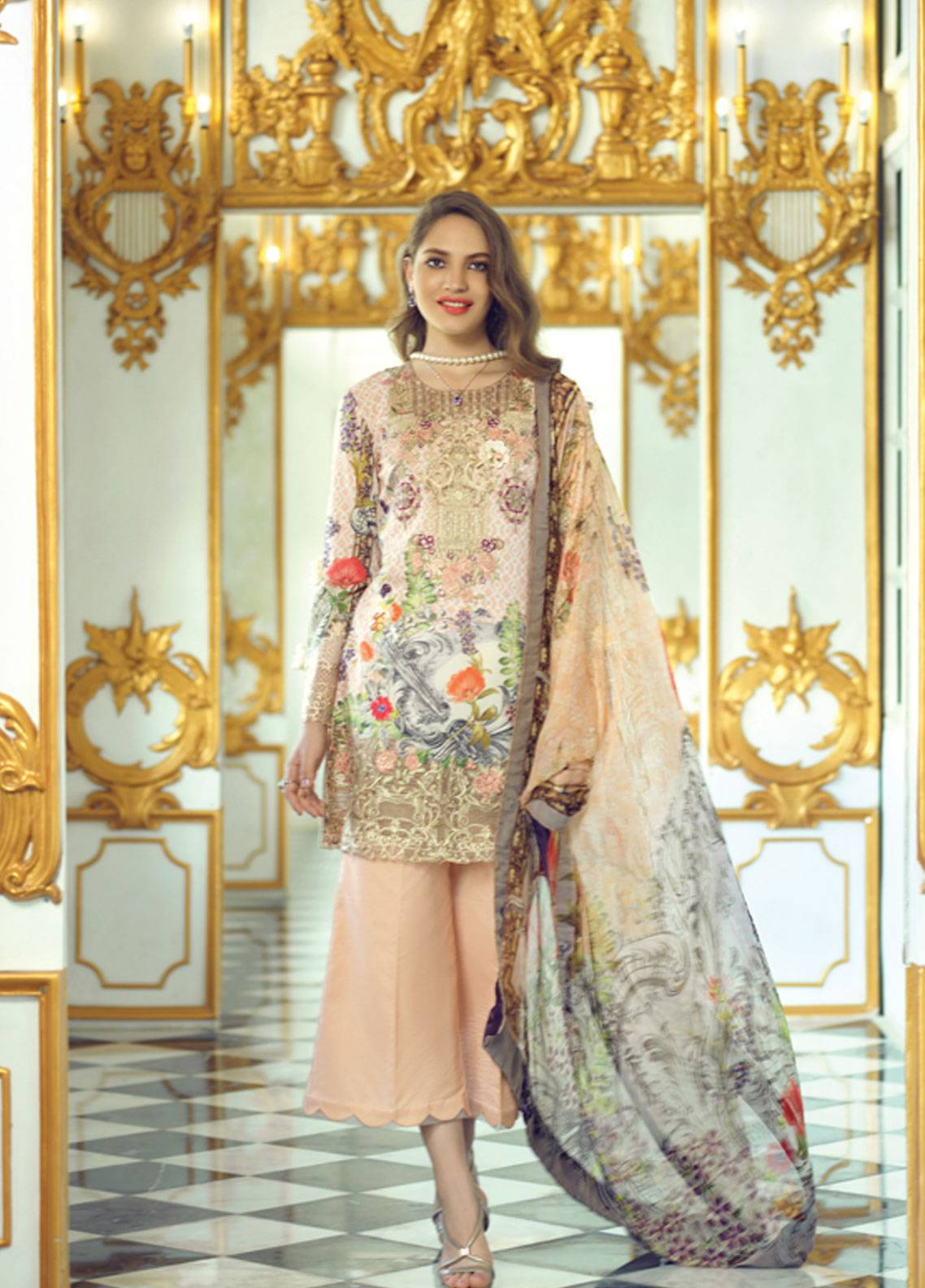 Rang Rasiya Carnation Embroidered Lawn Unstitched 3 Piece Suit RRC19L 709A - Spring / Summer Collection