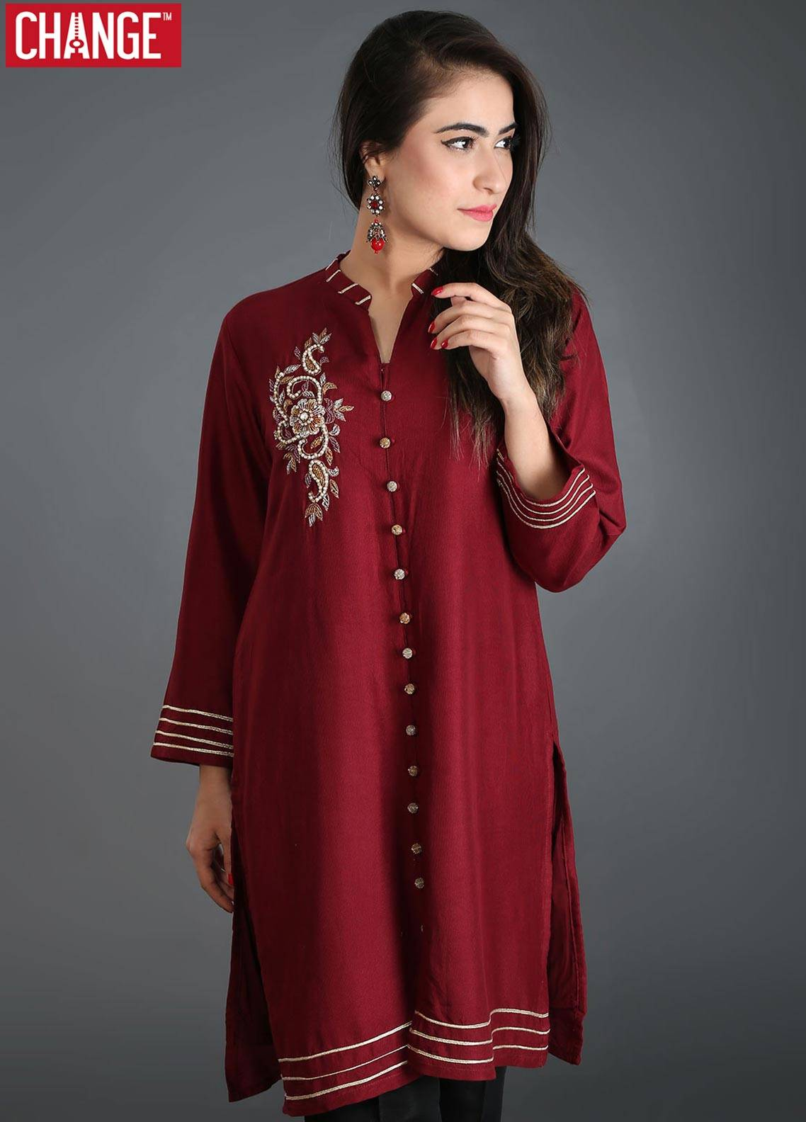 Change Embroidered  Stitched Kurtis CK1875 MAROON