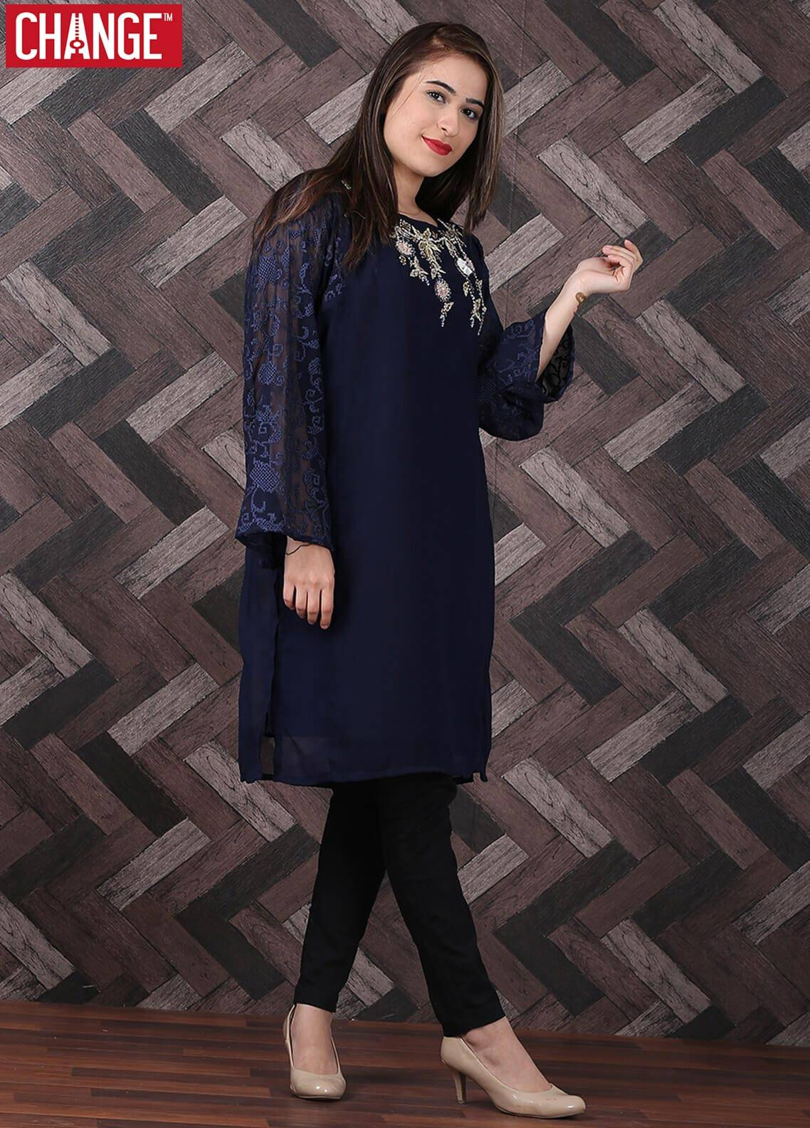 Change Embroidered Chiffon Stitched 2 Piece Suit CK 2057 Navy